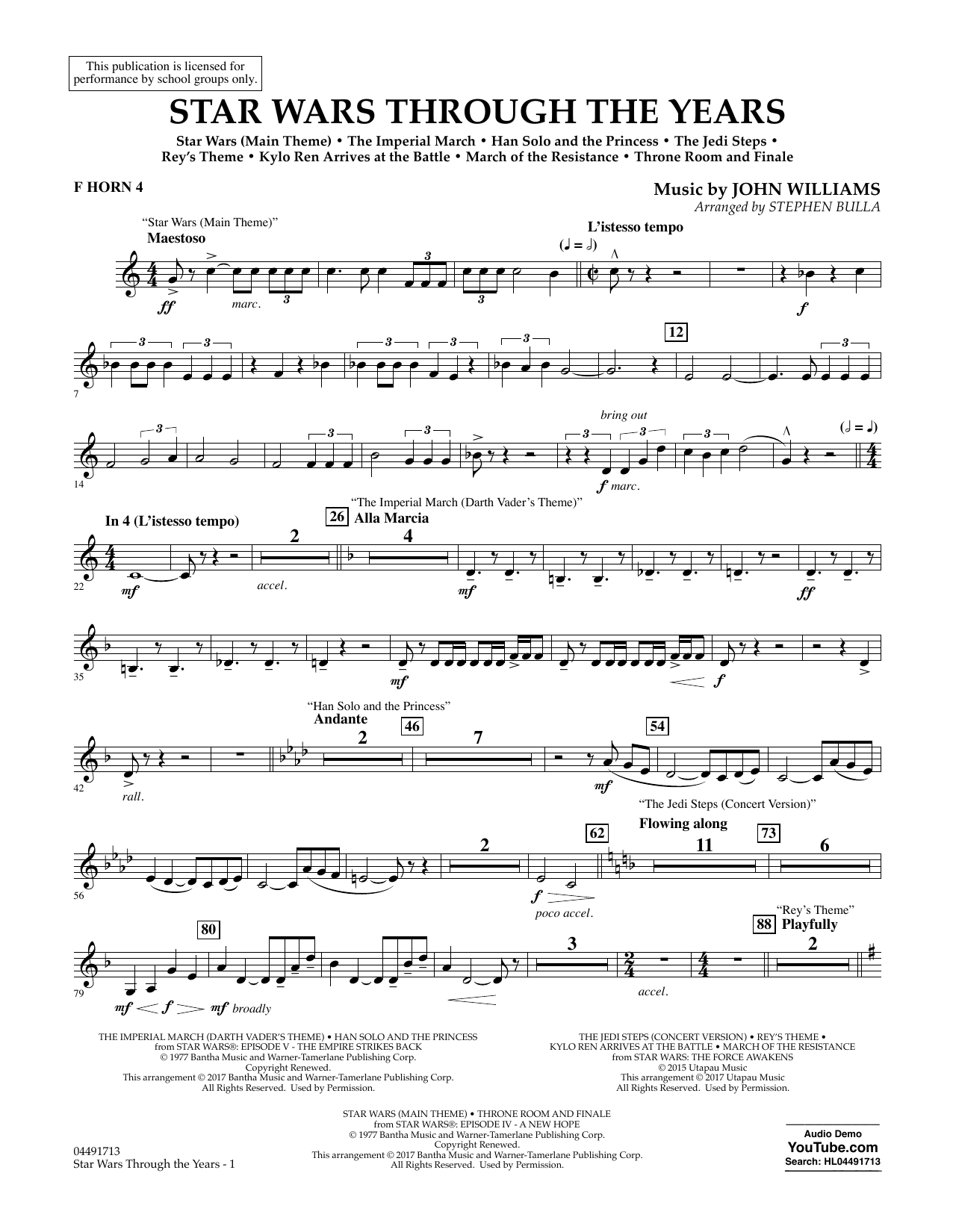Star Wars Through the Years - F Horn 4 Sheet Music