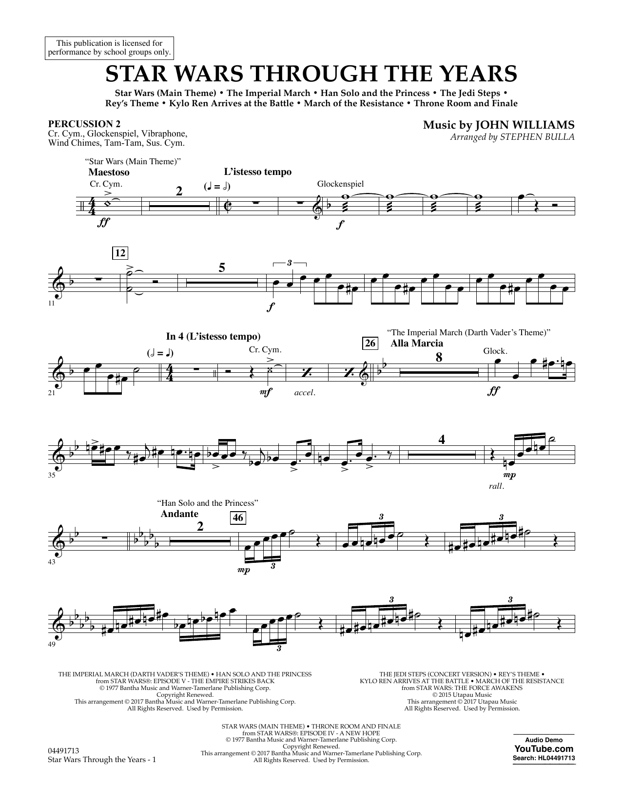 Star Wars Through the Years - Percussion 2 Sheet Music