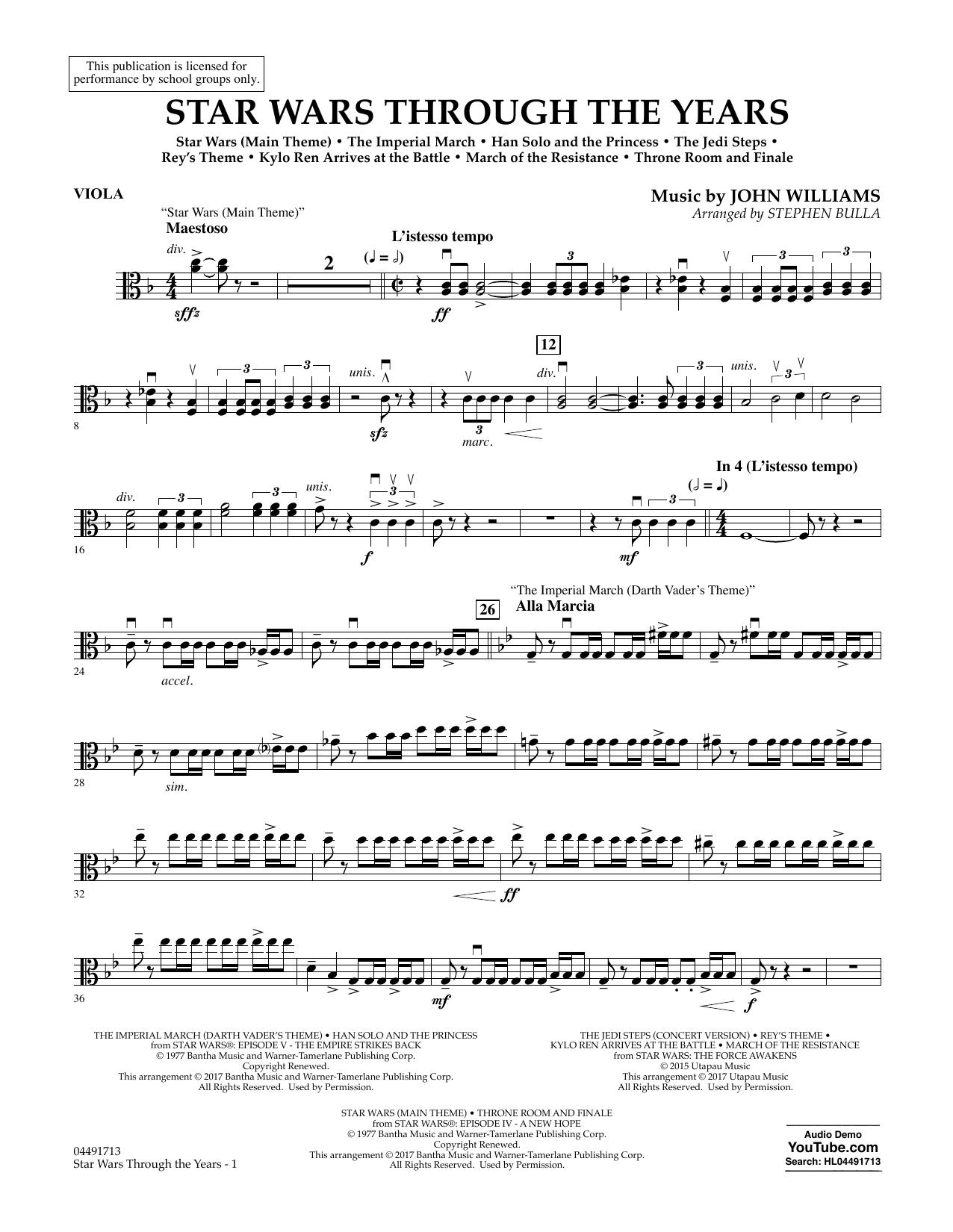 Star Wars Through the Years - Viola Sheet Music
