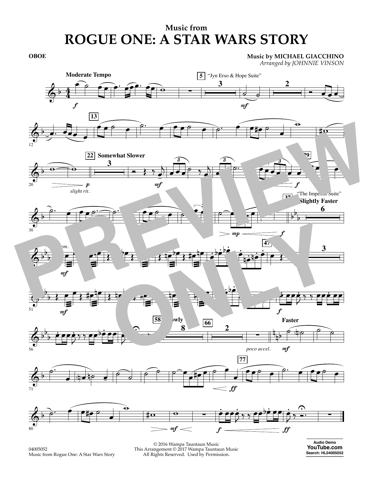 Music from Rogue One: A Star Wars Story - Oboe Sheet Music