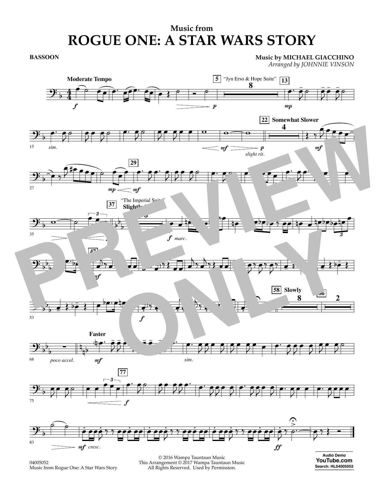 Music from Rogue One: A Star Wars Story - Bassoon Partition Digitale