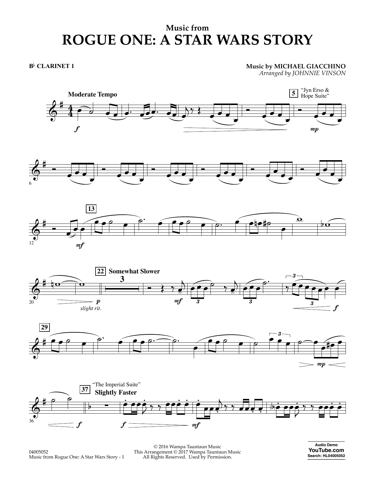 Music from Rogue One: A Star Wars Story - Bb Clarinet 1 Sheet Music