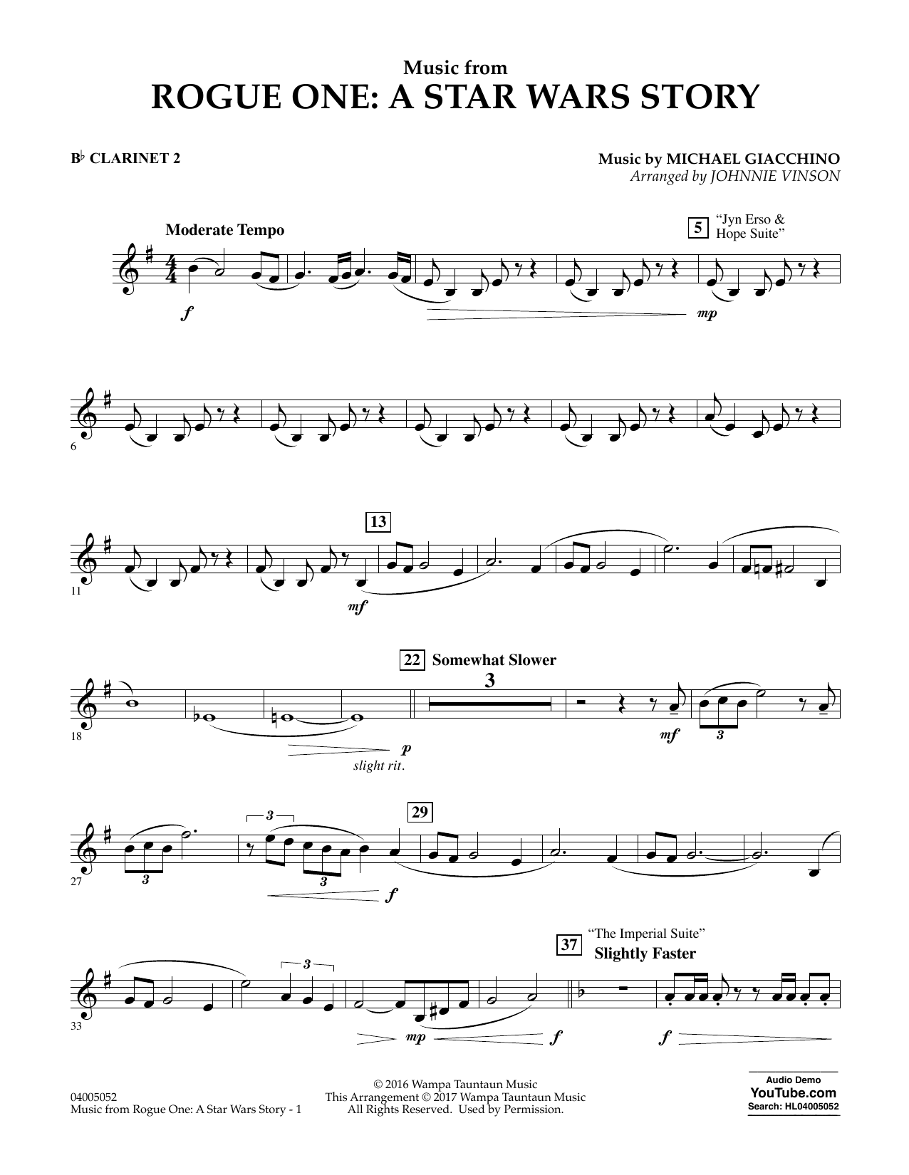 Music from Rogue One: A Star Wars Story - Bb Clarinet 2 Digitale Noten