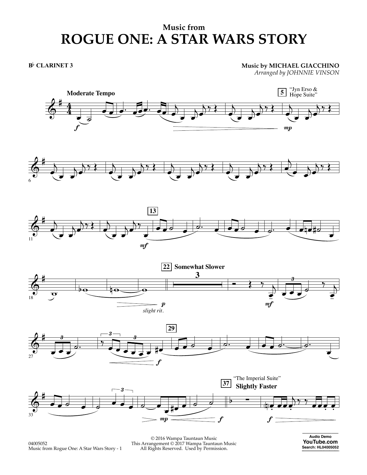 Music from Rogue One: A Star Wars Story - Bb Clarinet 3 Sheet Music