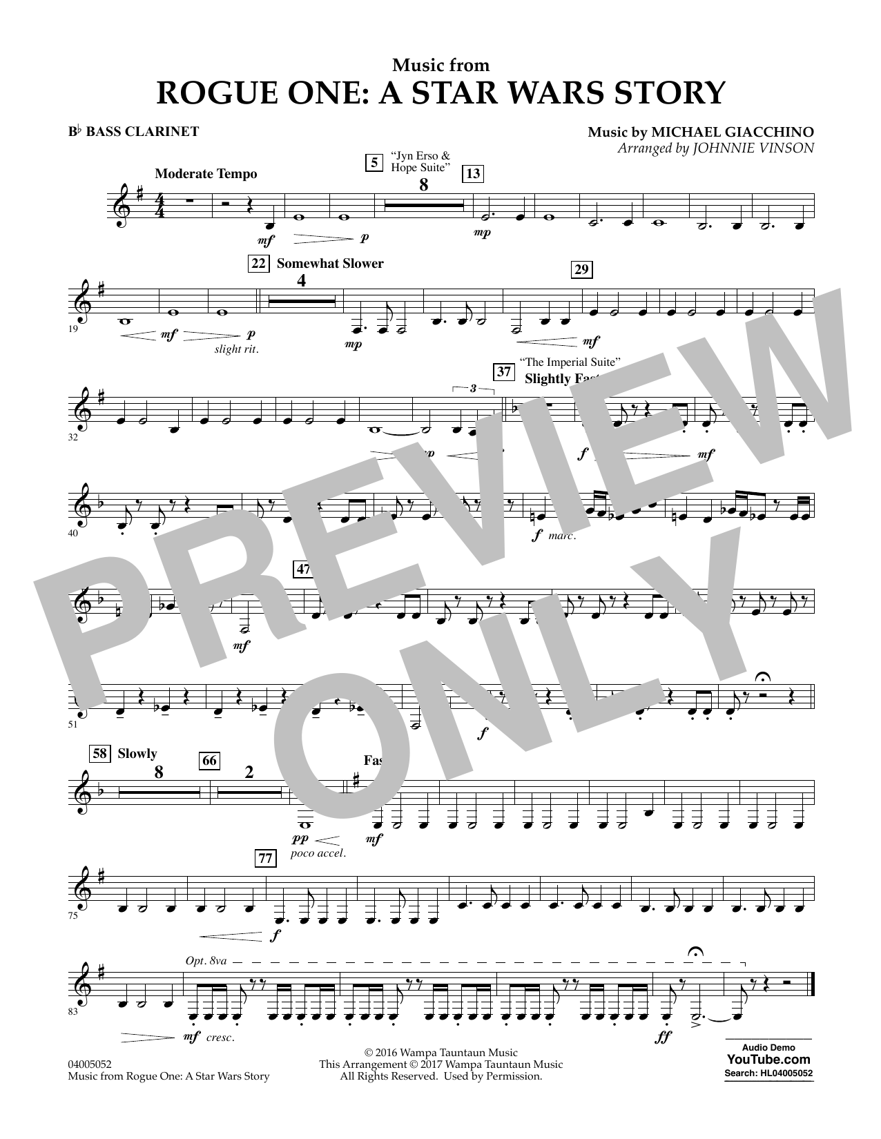 Music from Rogue One: A Star Wars Story - Bb Bass Clarinet Sheet Music