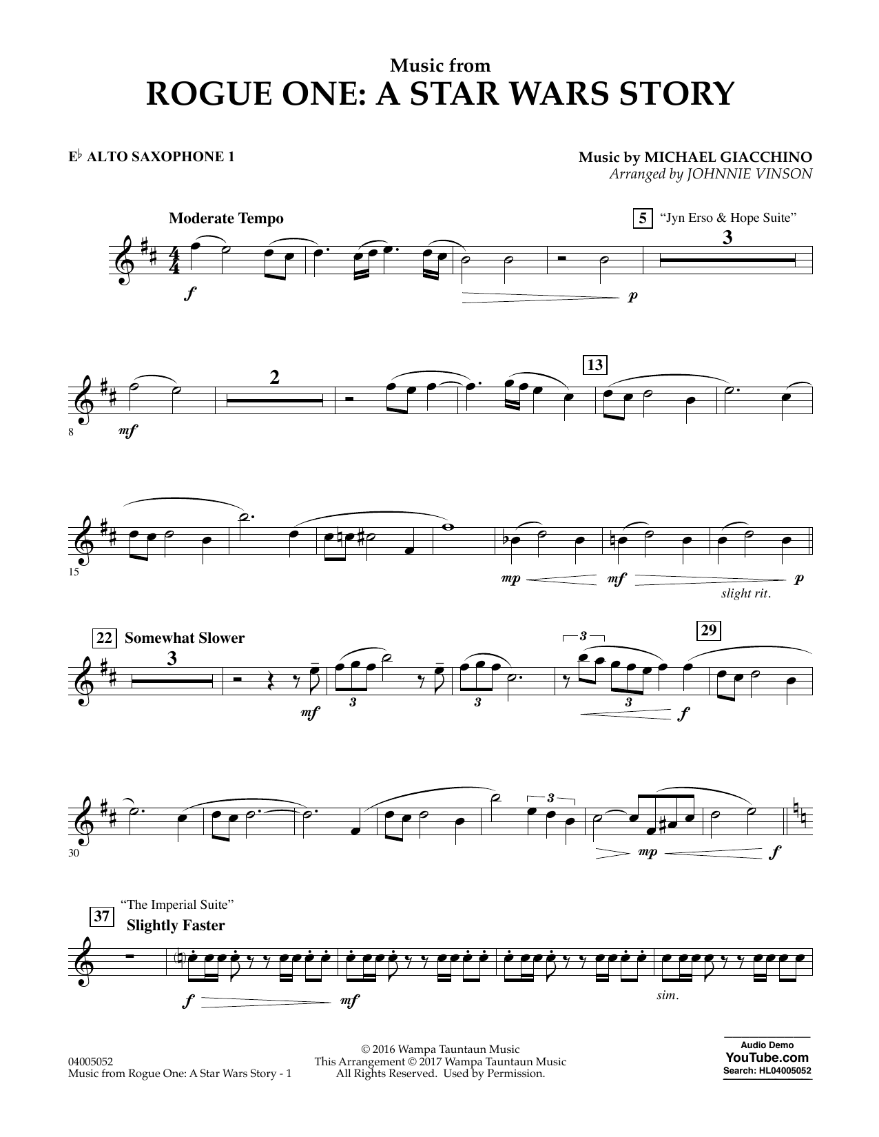 Music from Rogue One: A Star Wars Story - Eb Alto Saxophone 1 Sheet Music