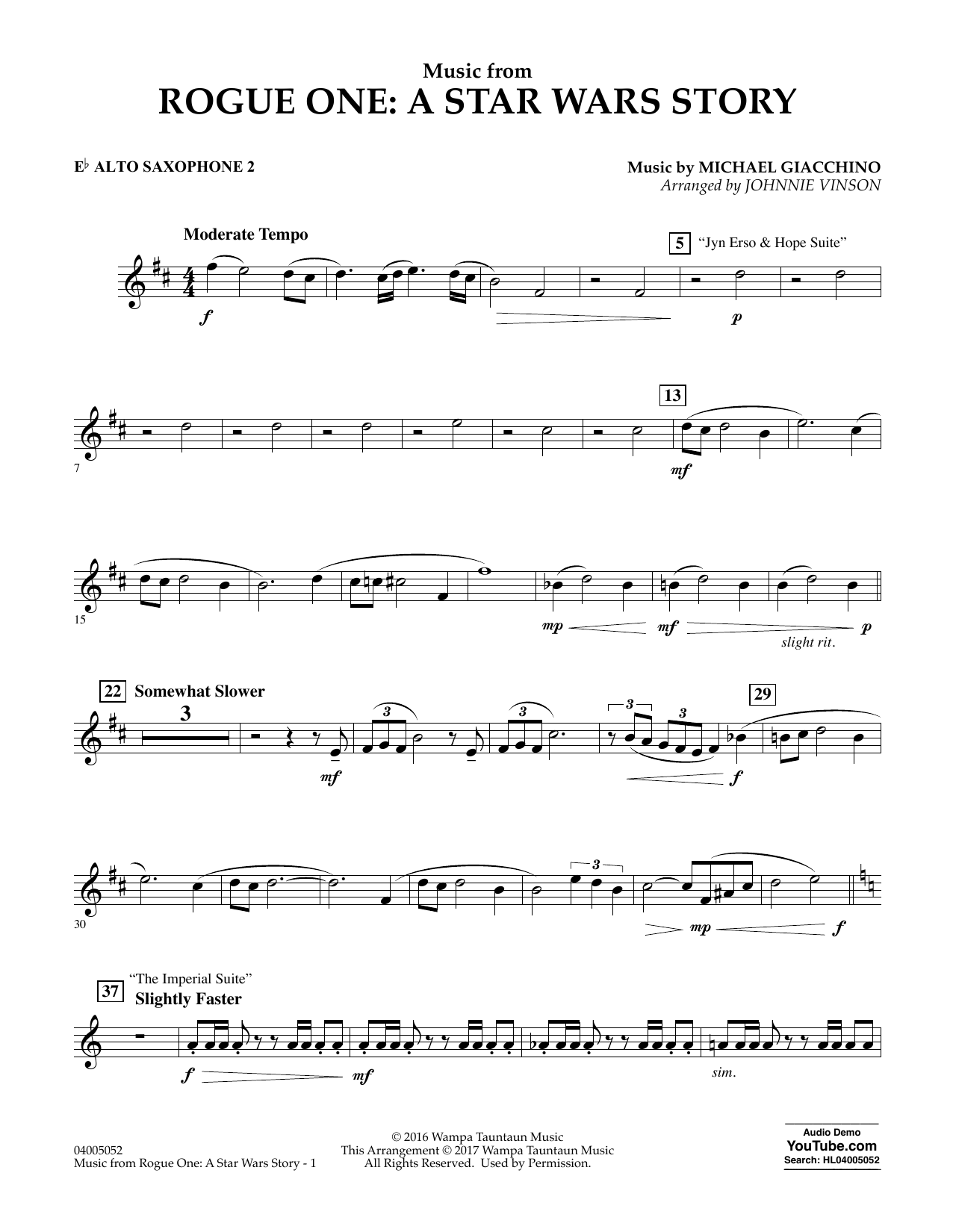 Music from Rogue One: A Star Wars Story - Eb Alto Saxophone 2 Digitale Noten
