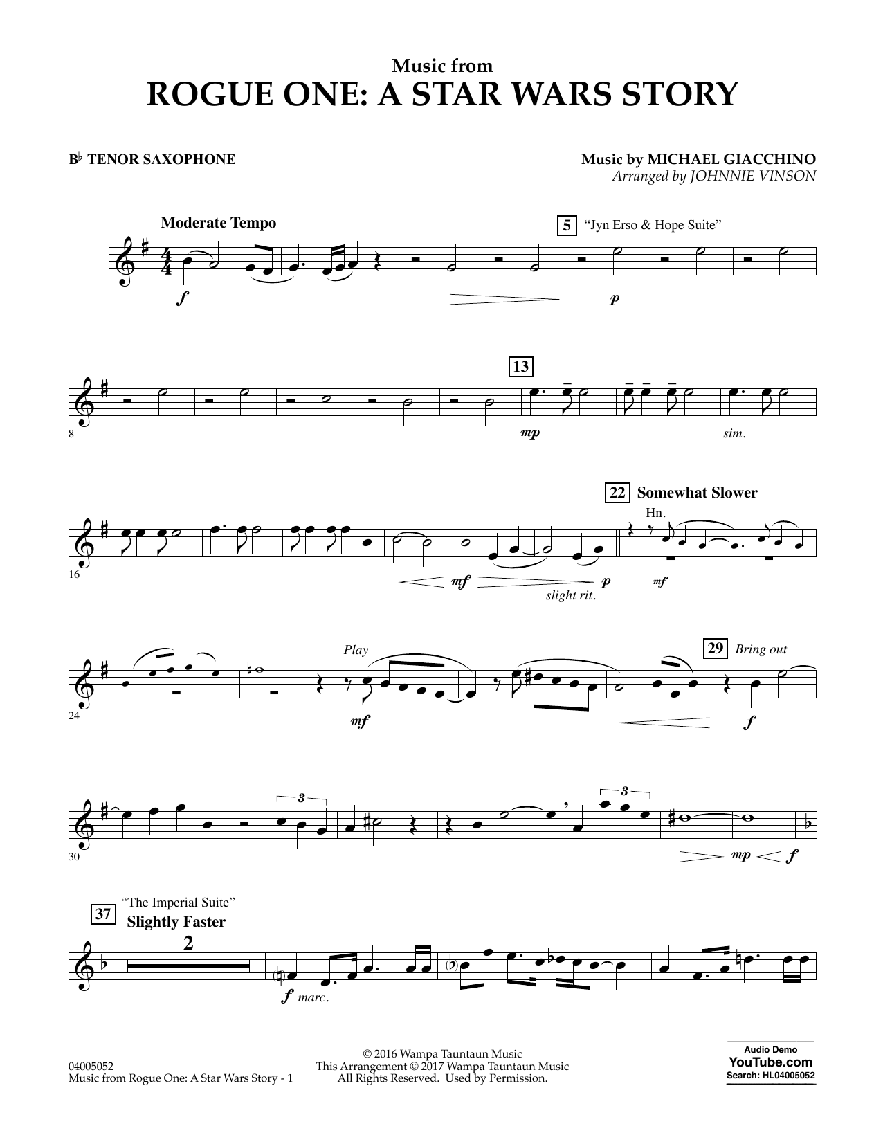 Music from Rogue One: A Star Wars Story - Bb Tenor Saxophone Digitale Noten