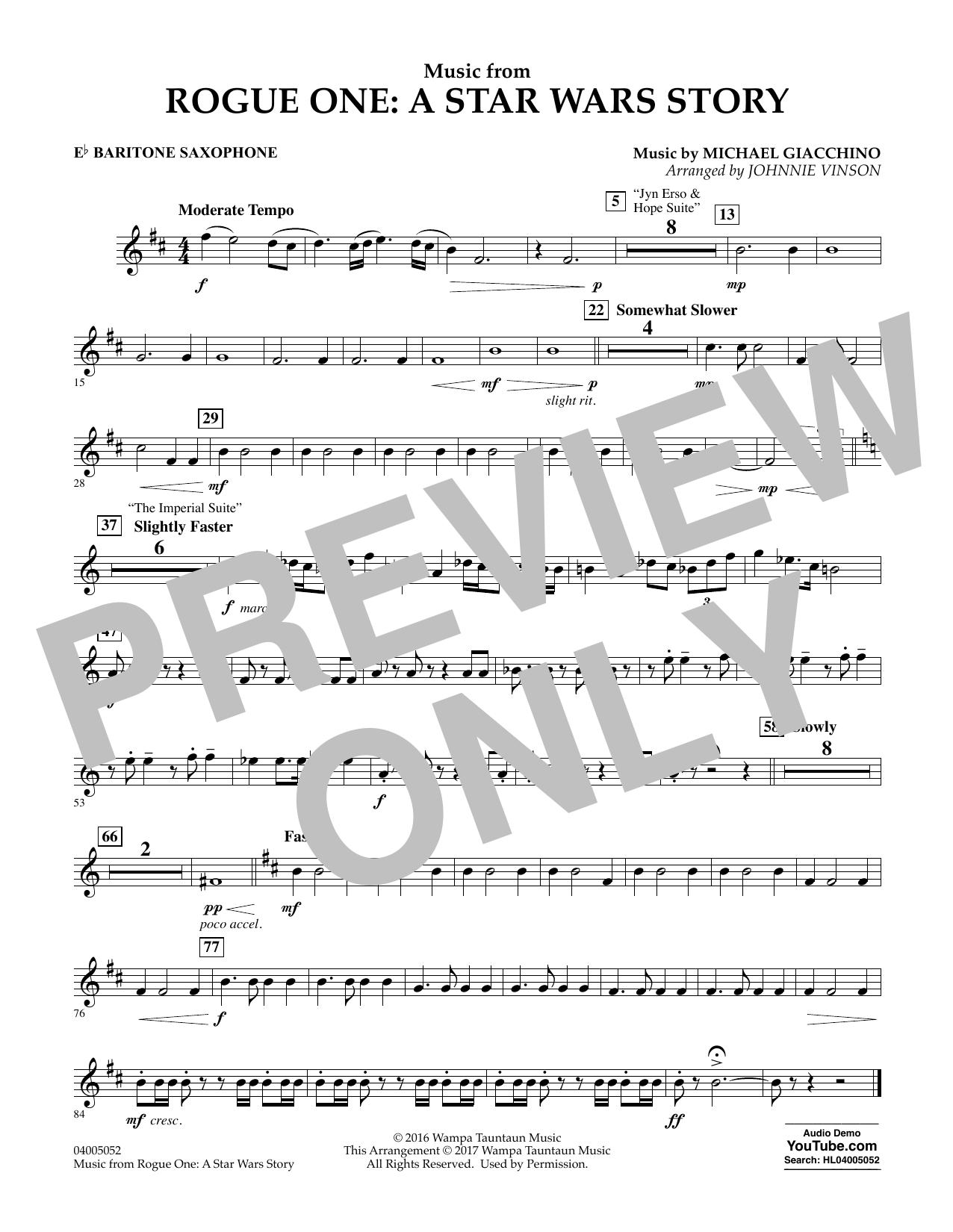 Music from Rogue One: A Star Wars Story - Eb Baritone Saxophone Sheet Music