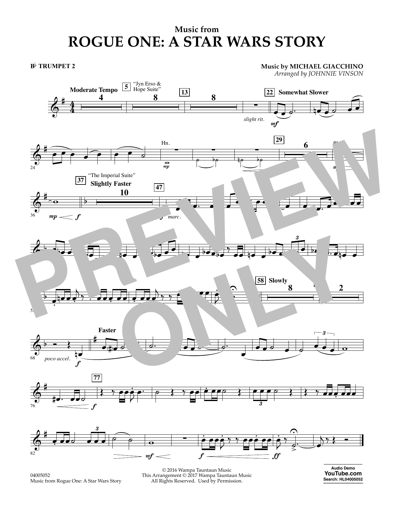 Music from Rogue One: A Star Wars Story - Bb Trumpet 2 Sheet Music