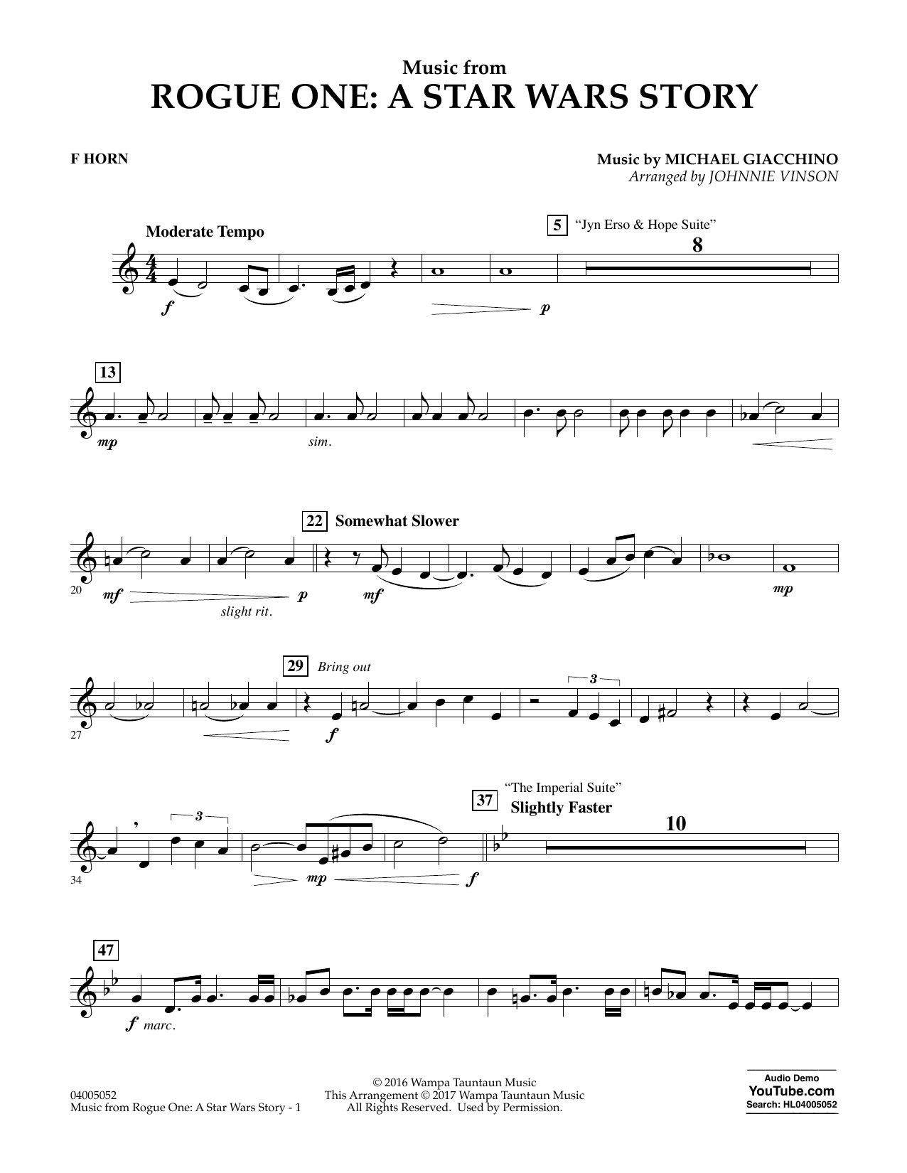 Music from Rogue One: A Star Wars Story - F Horn (Concert Band)