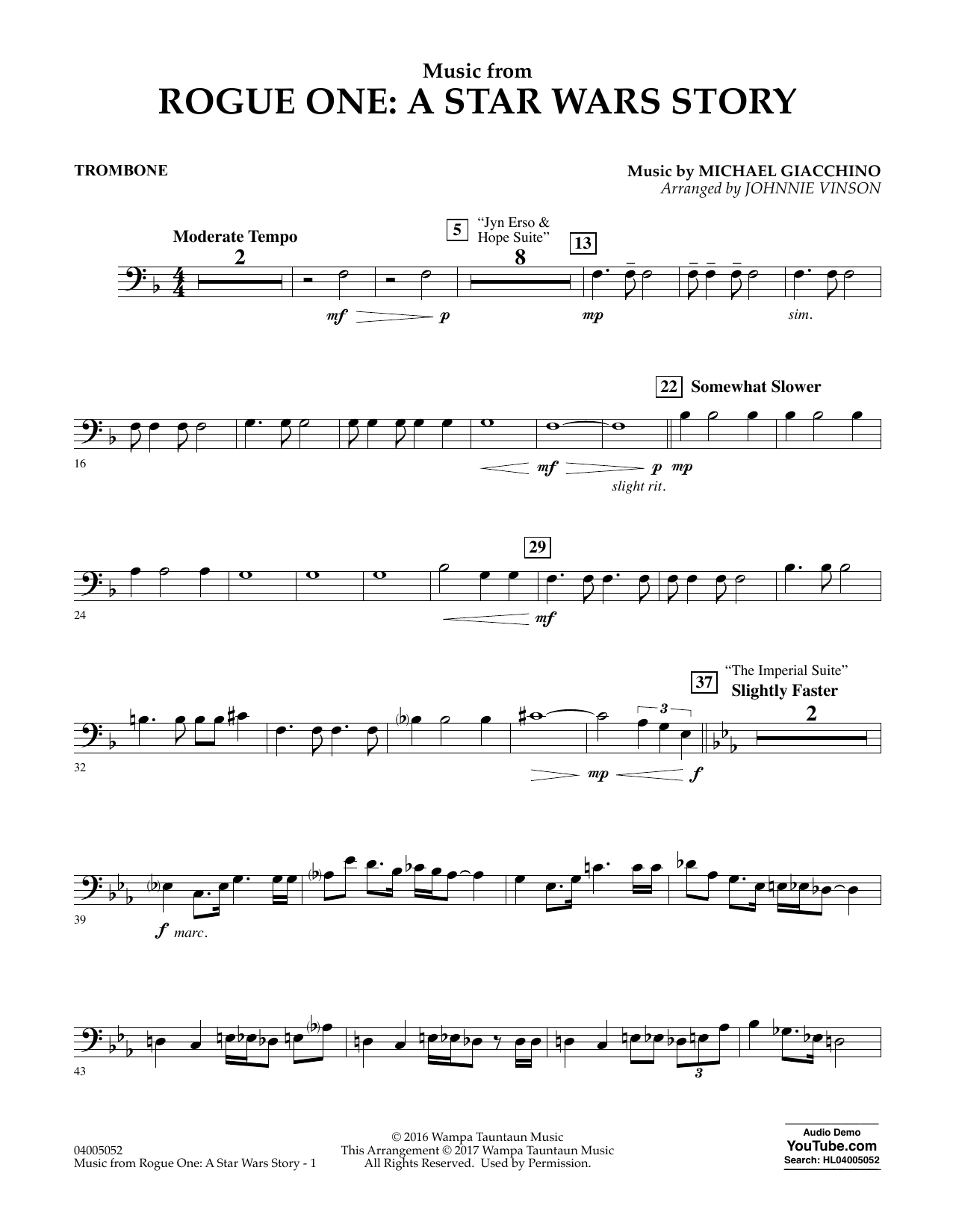 Music from Rogue One: A Star Wars Story - Trombone Partition Digitale