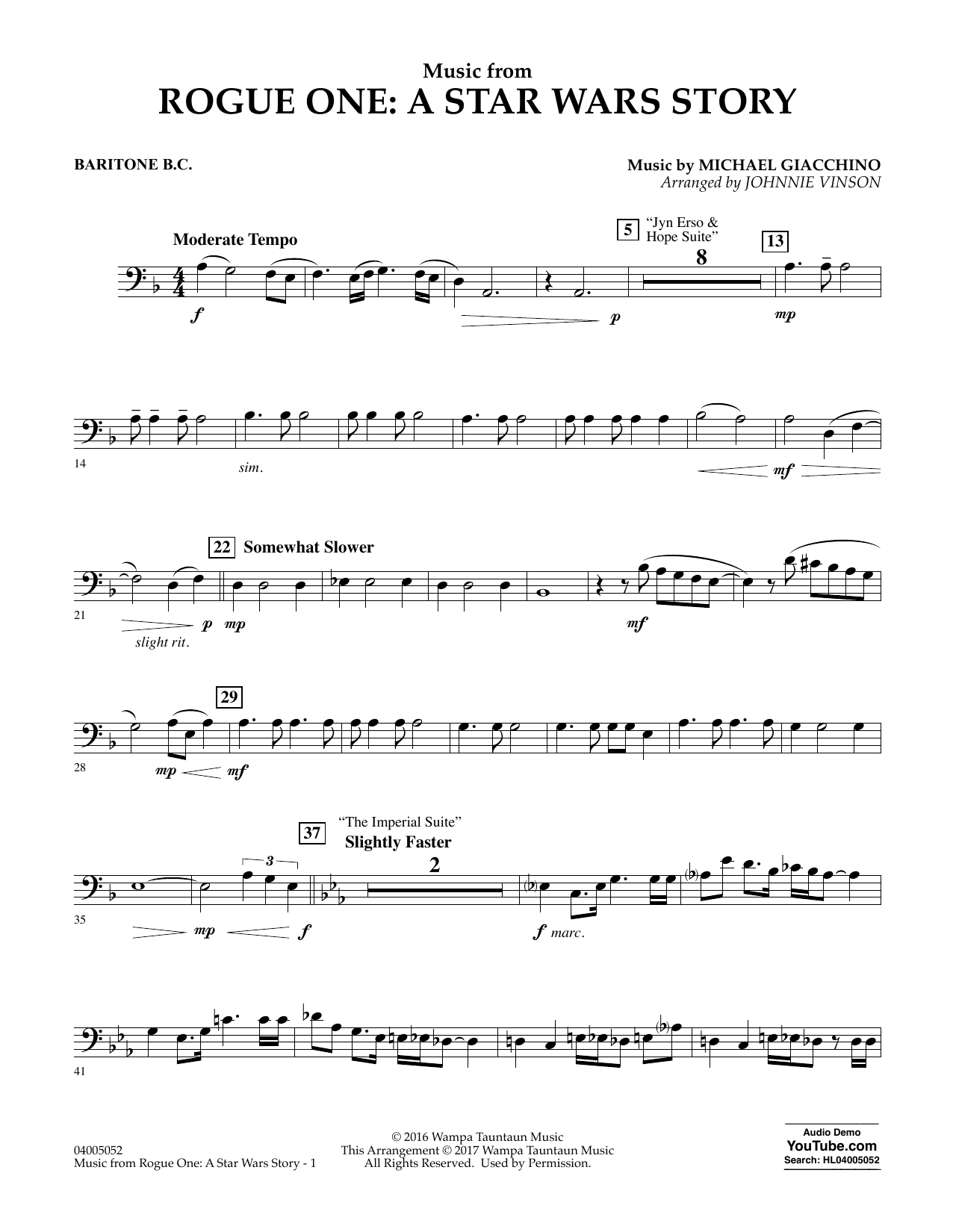 Music from Rogue One: A Star Wars Story - Baritone B.C. Sheet Music