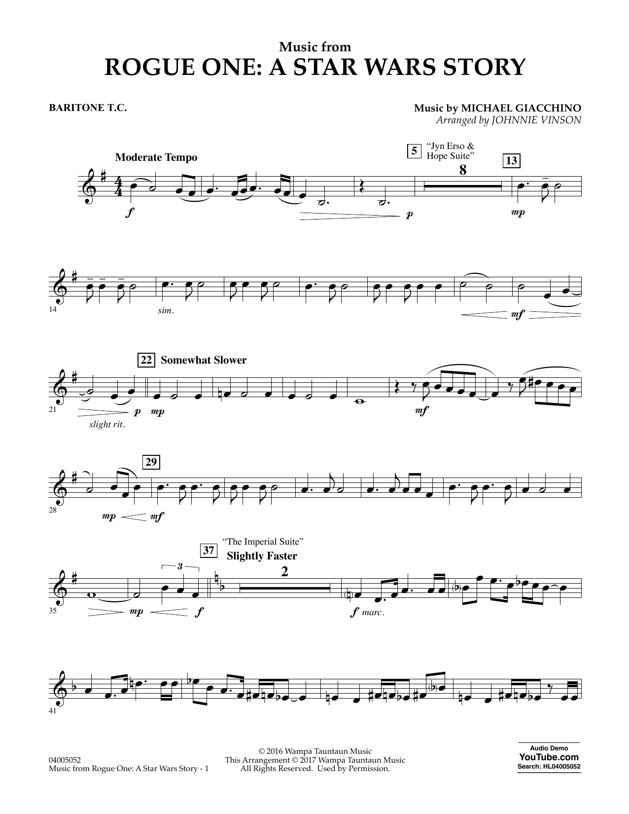 Music from Rogue One: A Star Wars Story - Baritone T.C. Sheet Music