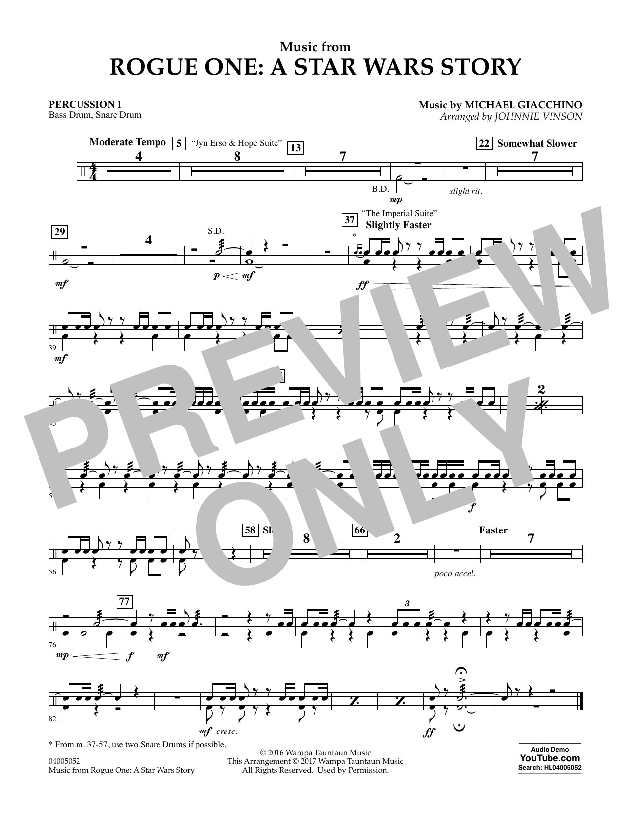Music from Rogue One: A Star Wars Story - Percussion 1 Digitale Noten