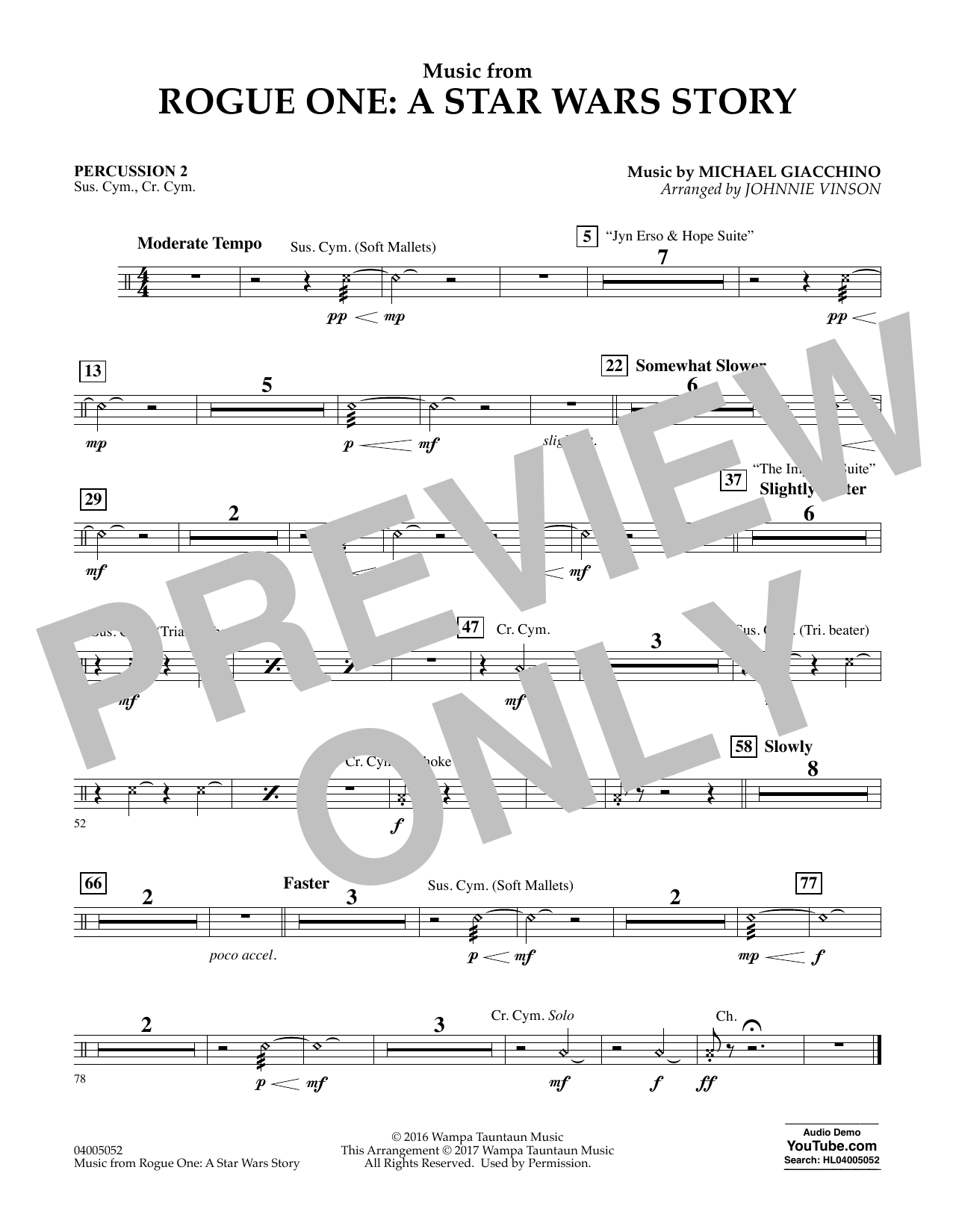 Music from Rogue One: A Star Wars Story - Percussion 2 Sheet Music