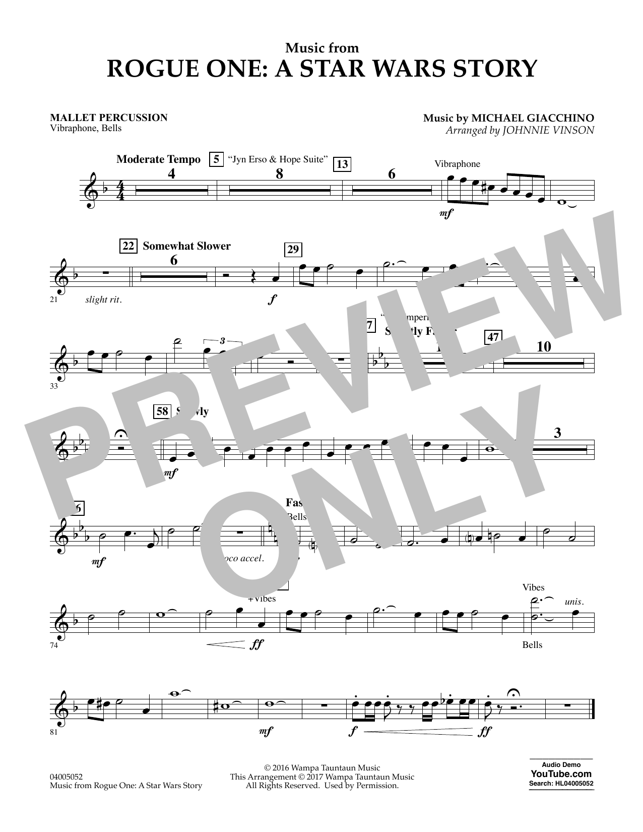 Music from Rogue One: A Star Wars Story - Mallet Percussion Sheet Music
