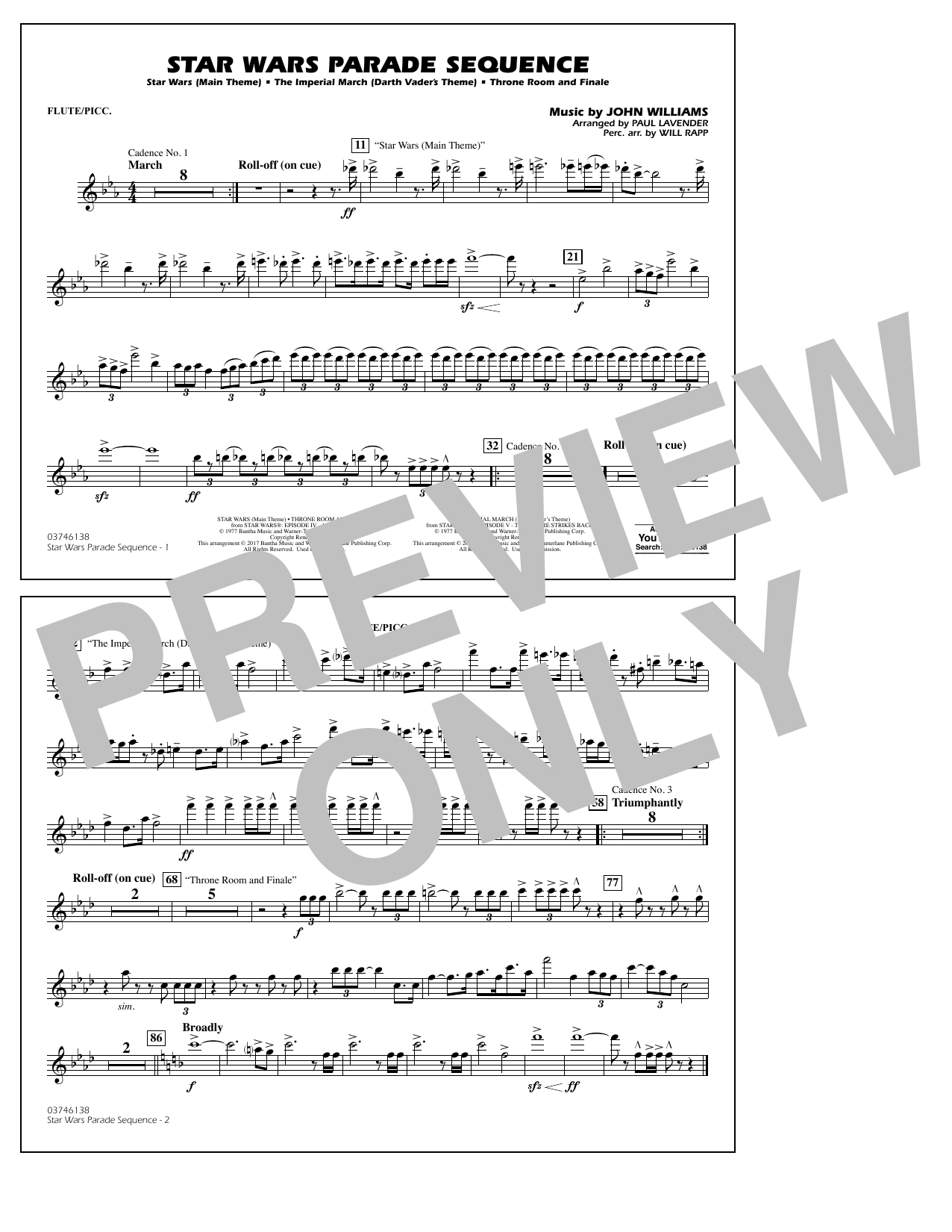 Star Wars Parade Sequence - Flute/Piccolo Sheet Music