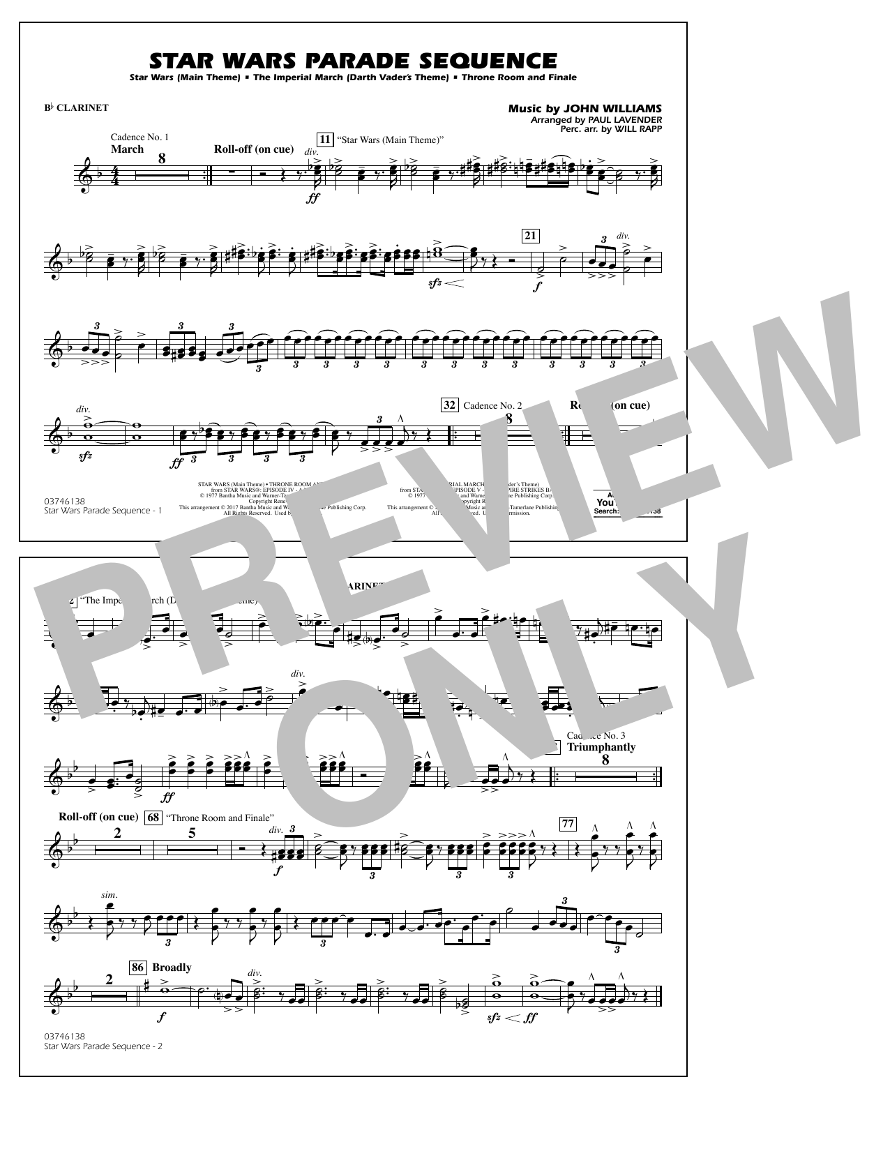 Star Wars Parade Sequence - Bb Clarinet Sheet Music