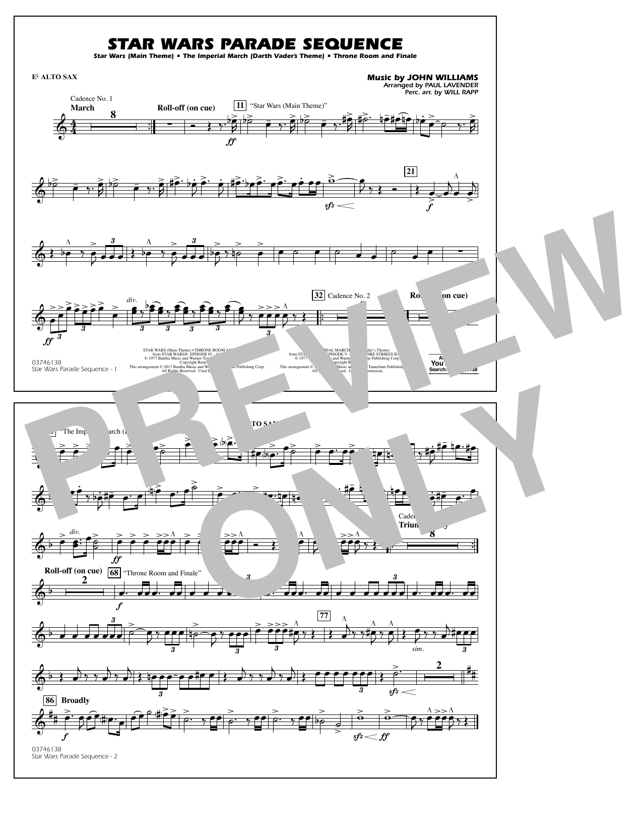 Star Wars Parade Sequence - Eb Alto Sax Sheet Music