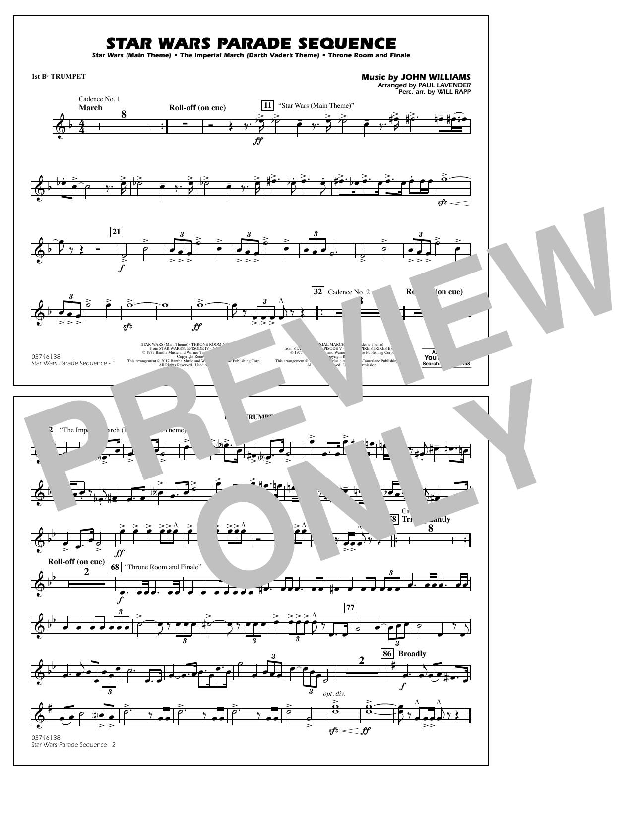 Star Wars Parade Sequence - 1st Bb Trumpet Sheet Music