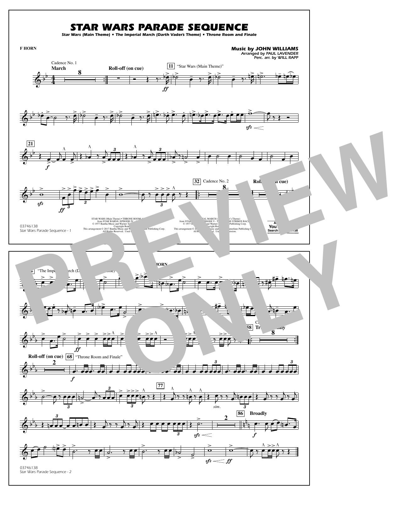Star Wars Parade Sequence - F Horn Sheet Music