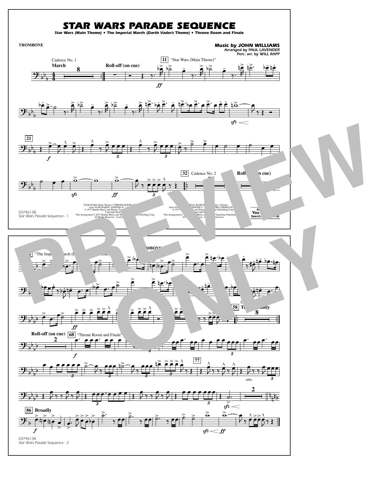 Star Wars Parade Sequence - Trombone Sheet Music