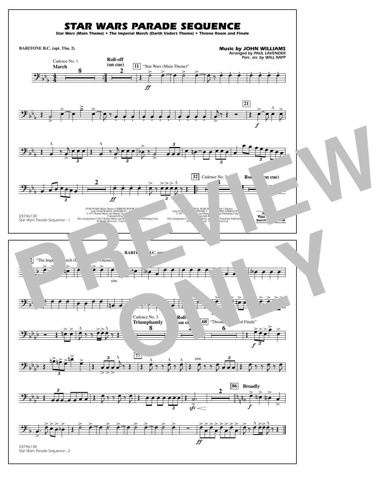 Star Wars Parade Sequence - Baritone B.C. (Opt. Tbn. 2) Sheet Music