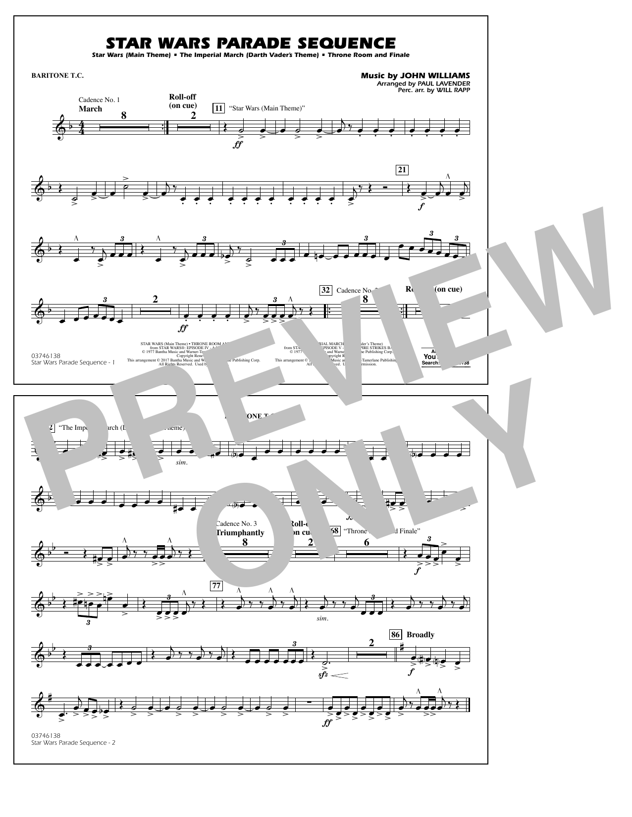 Star Wars Parade Sequence - Baritone T.C. Sheet Music