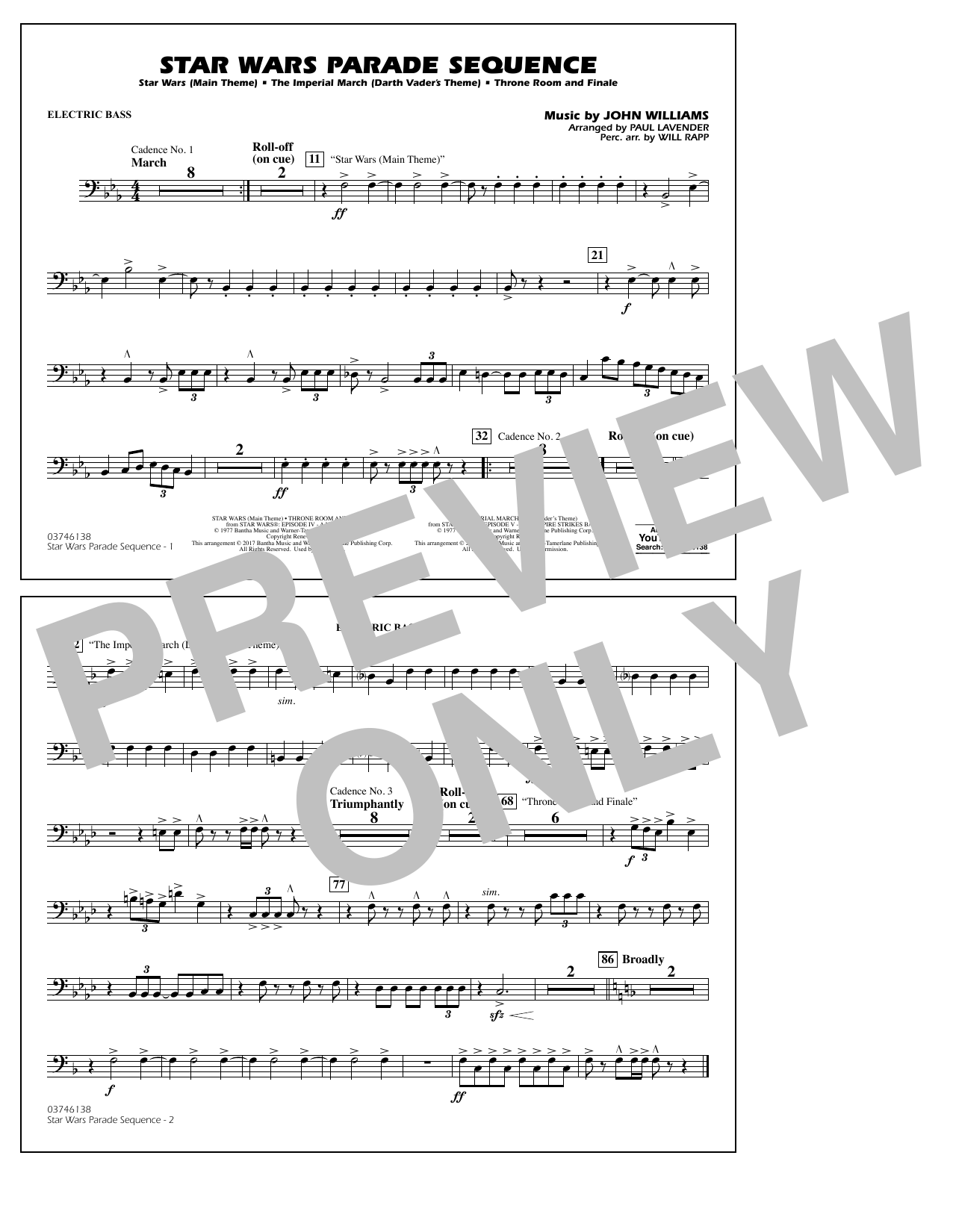 Star Wars Parade Sequence - Electric Bass Sheet Music