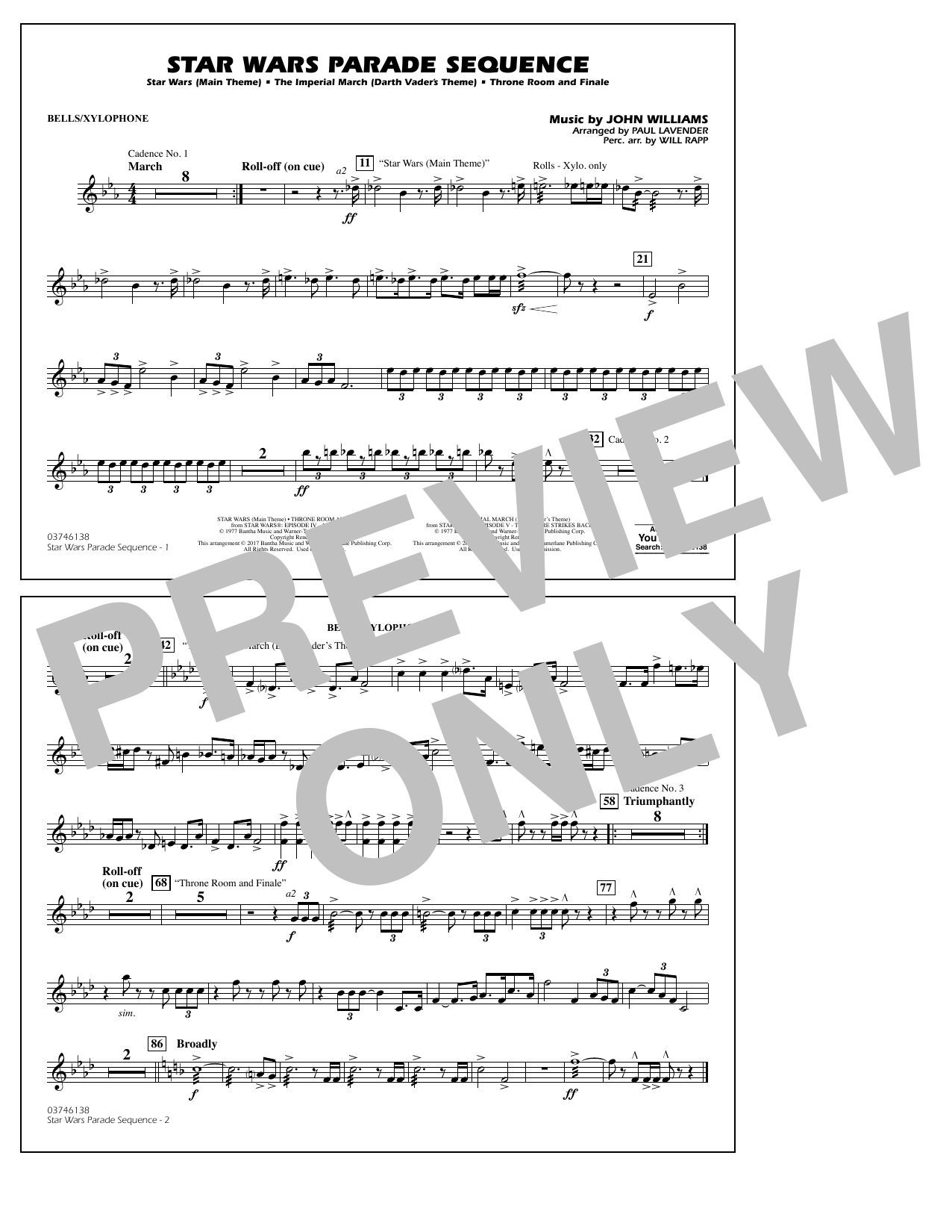 Star Wars Parade Sequence - Bells/Xylophone Sheet Music
