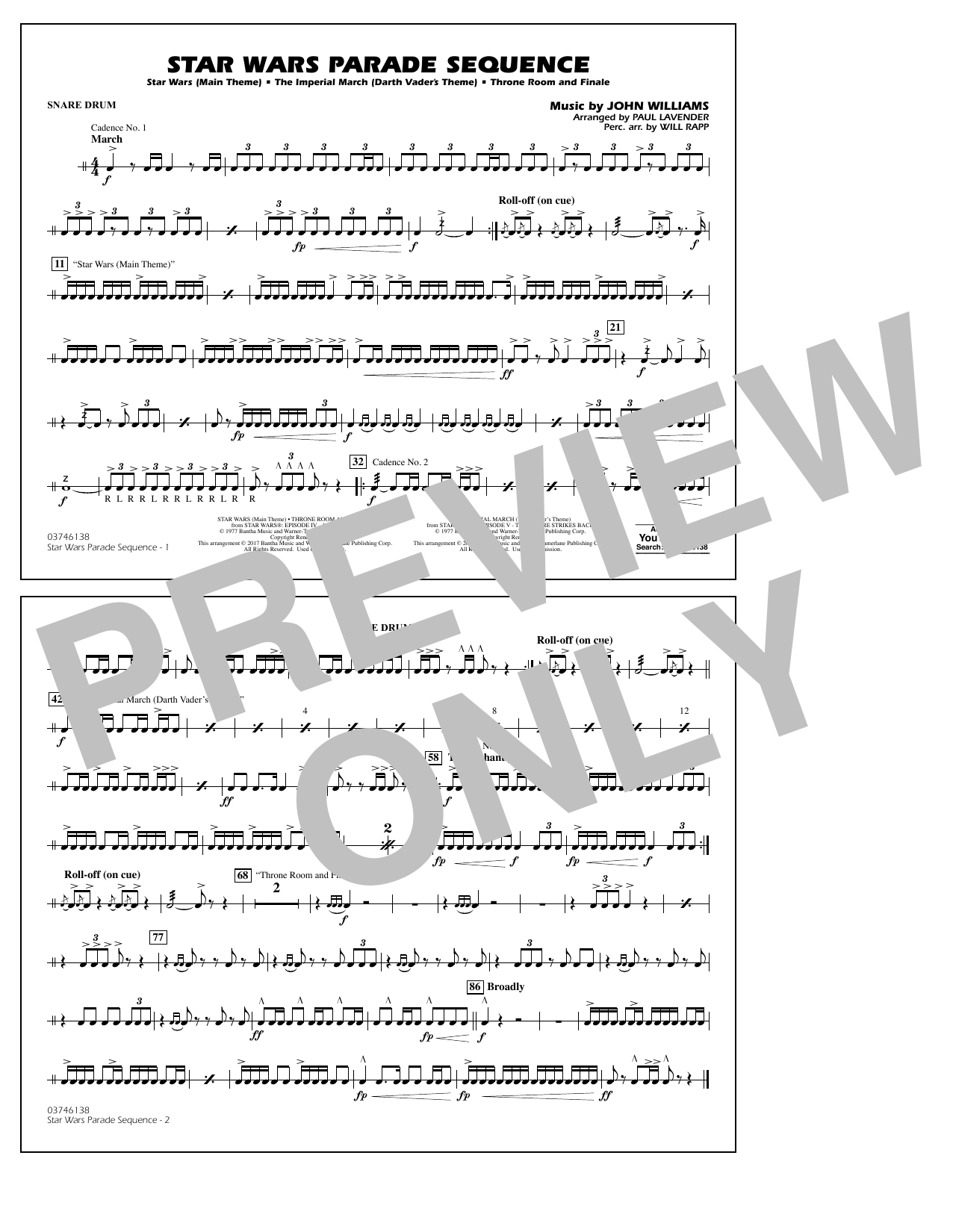 Star Wars Parade Sequence - Snare Drum Sheet Music