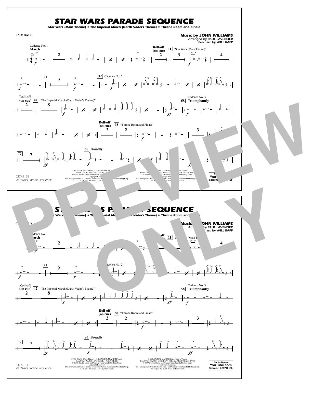 Star Wars Parade Sequence - Cymbals Sheet Music