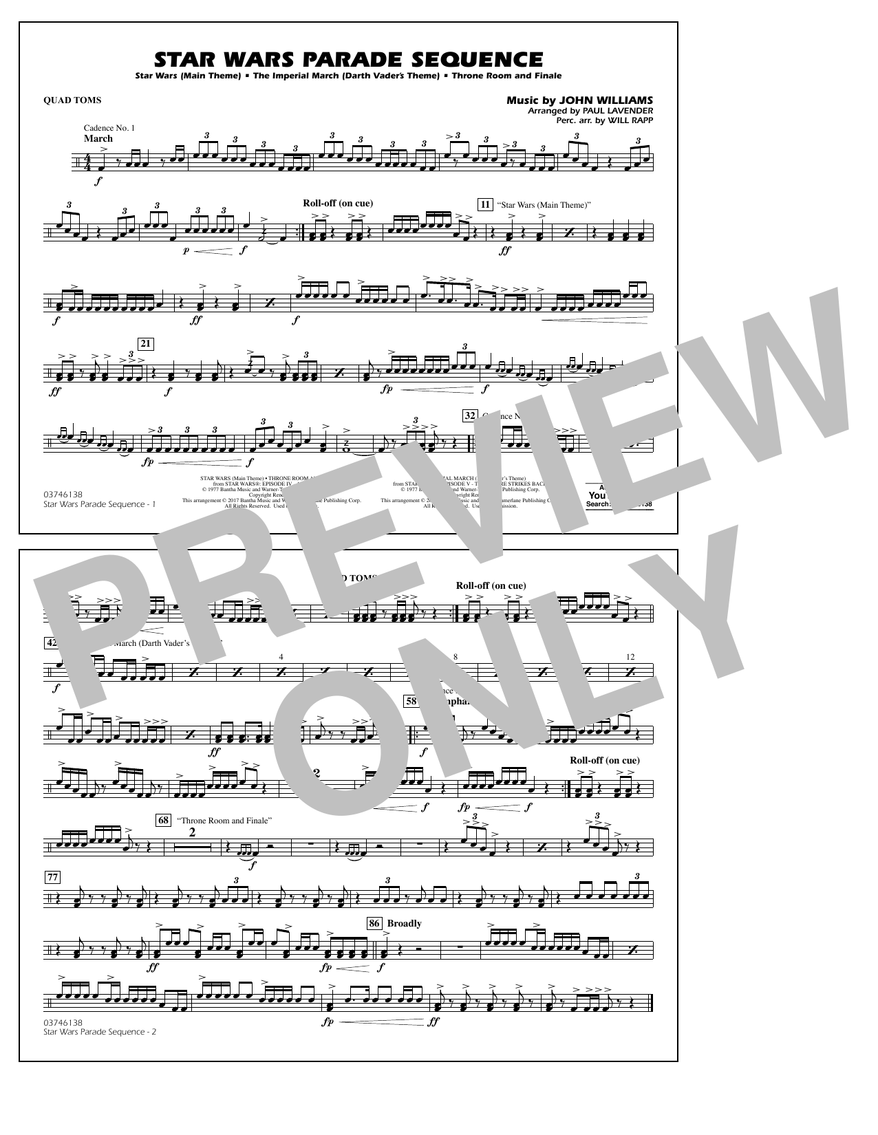 Star Wars Parade Sequence - Quad Toms Sheet Music