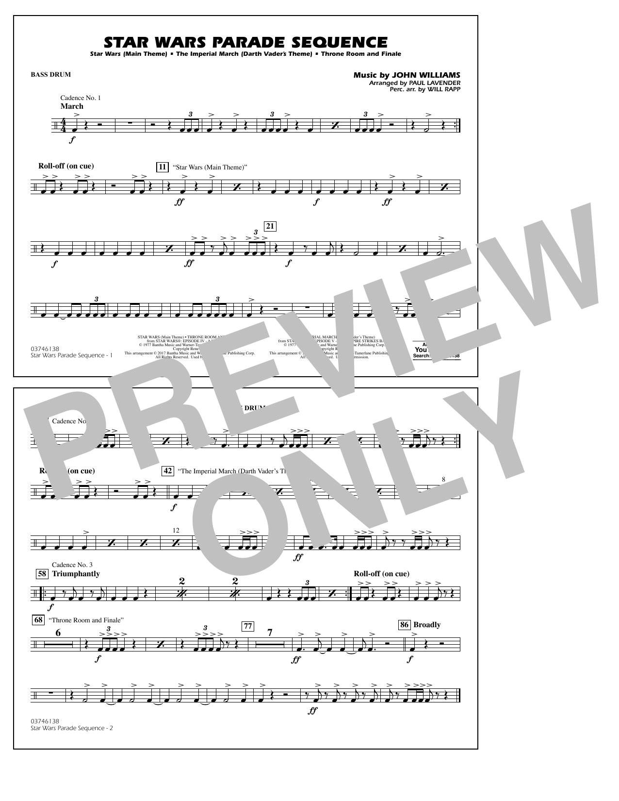Star Wars Parade Sequence - Bass Drum Sheet Music
