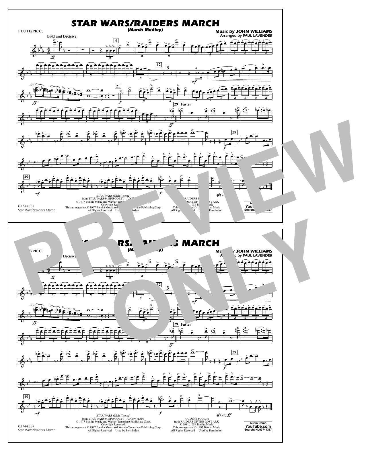 Star Wars/Raiders March - Flute/Piccolo Sheet Music