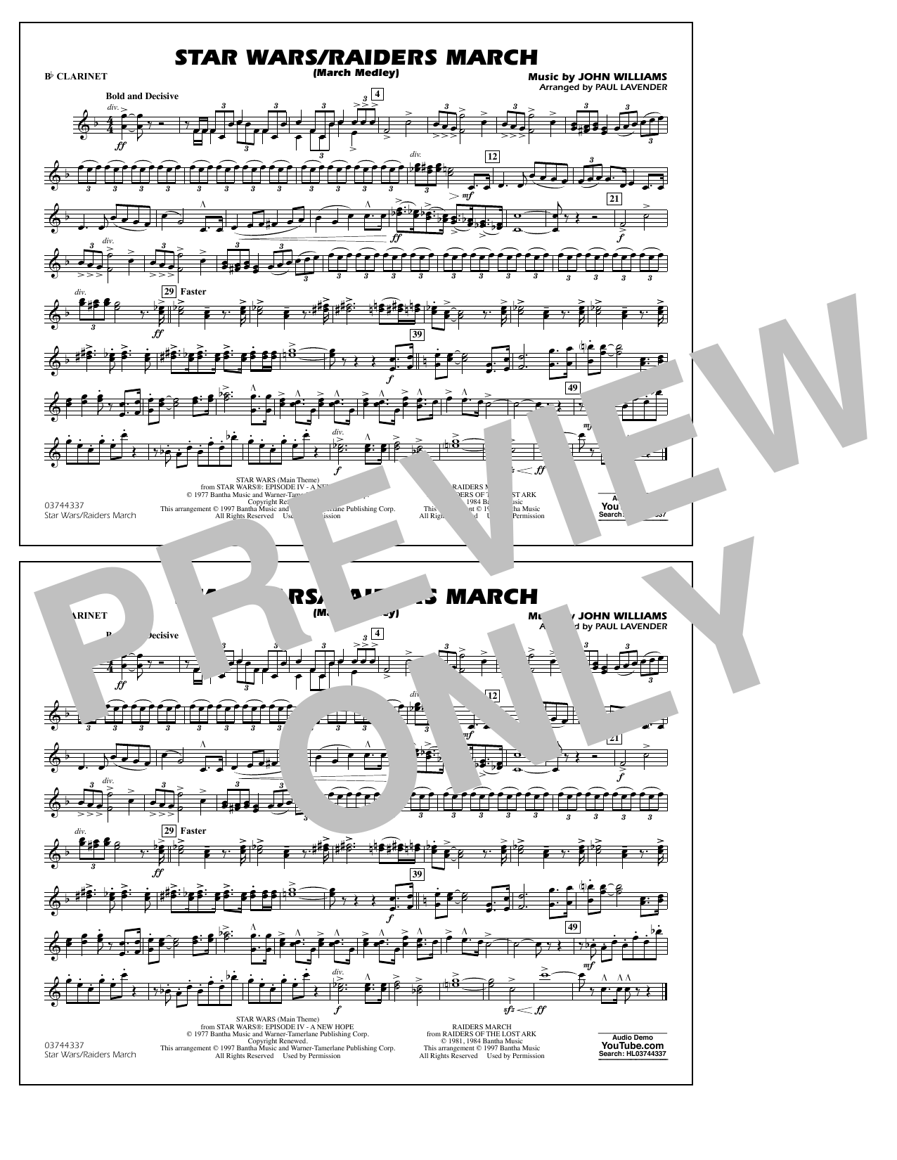 Star Wars/Raiders March - Bb Clarinet Sheet Music