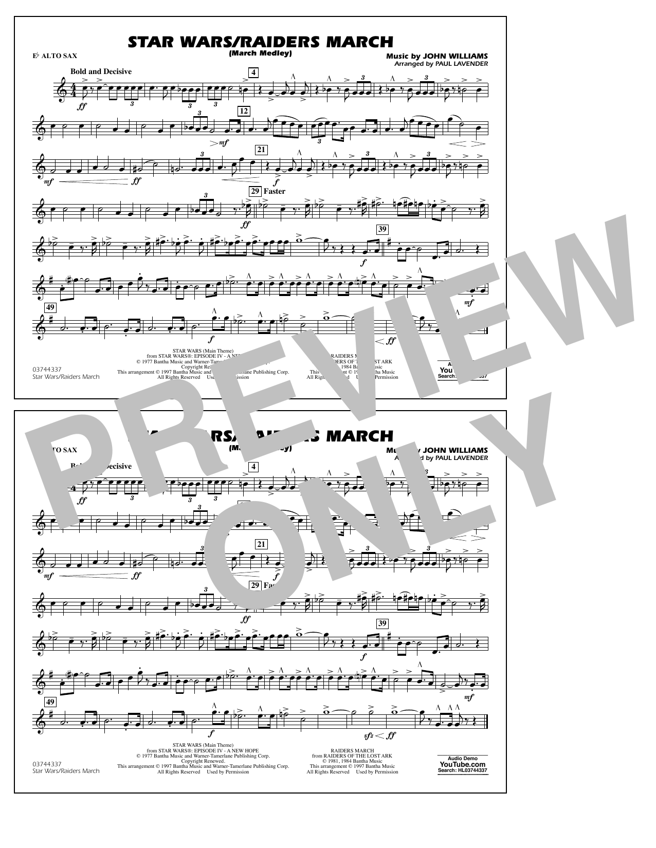 Star Wars/Raiders March - Eb Alto Sax Sheet Music