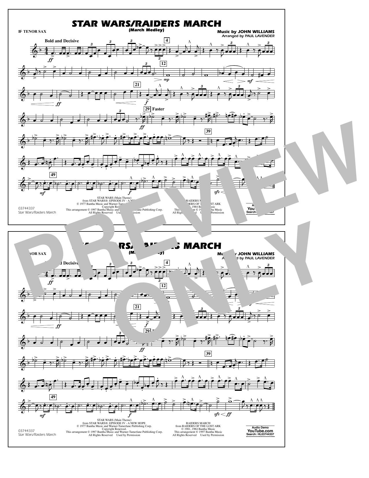 Star Wars/Raiders March - Bb Tenor Sax Sheet Music