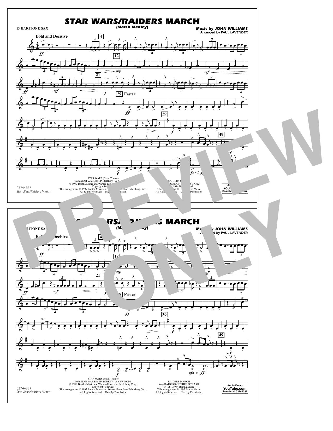 Star Wars/Raiders March - Eb Baritone Sax Sheet Music