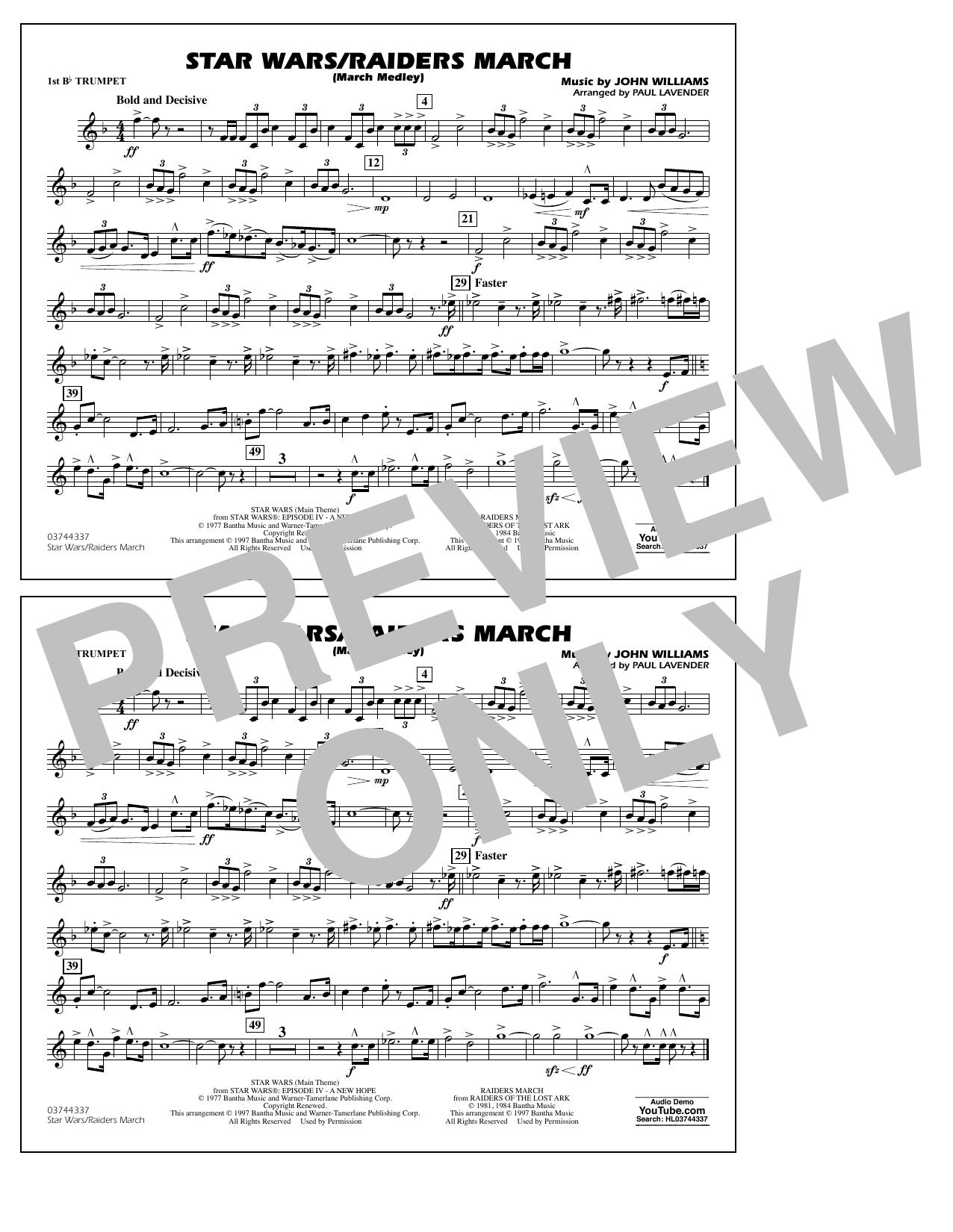 Star Wars/Raiders March - 1st Bb Trumpet Sheet Music