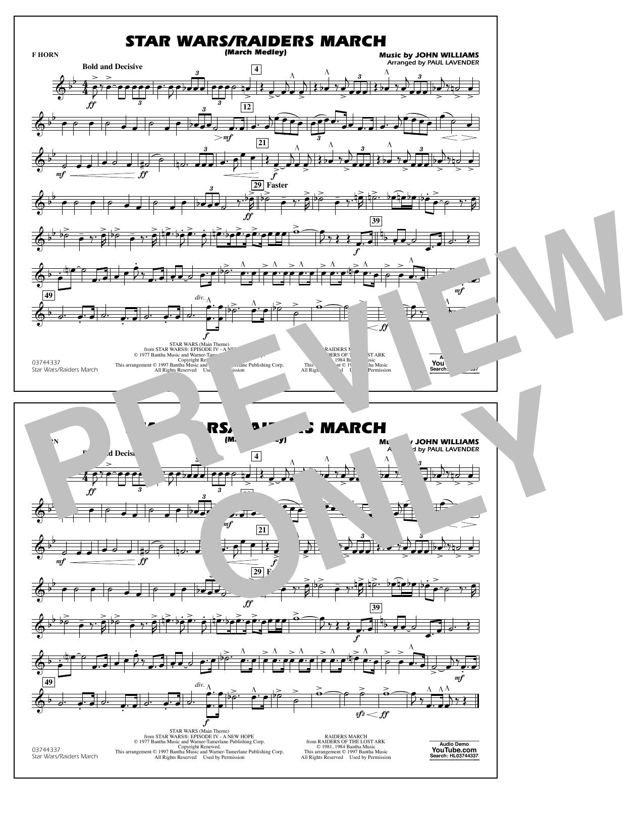 Star Wars/Raiders March - F Horn Sheet Music
