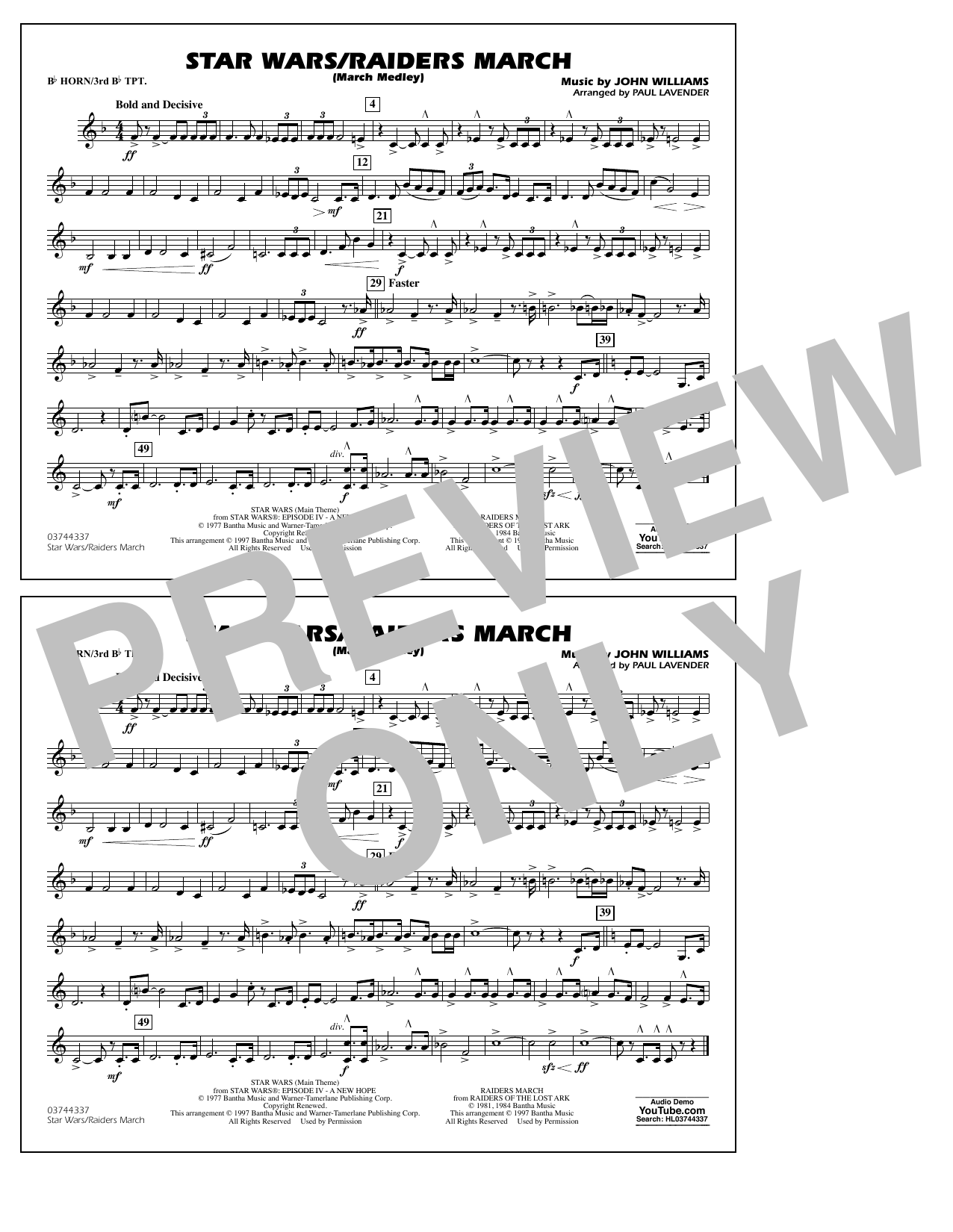 Star Wars/Raiders March - Bb Horn/3rd Bb Tpt Sheet Music