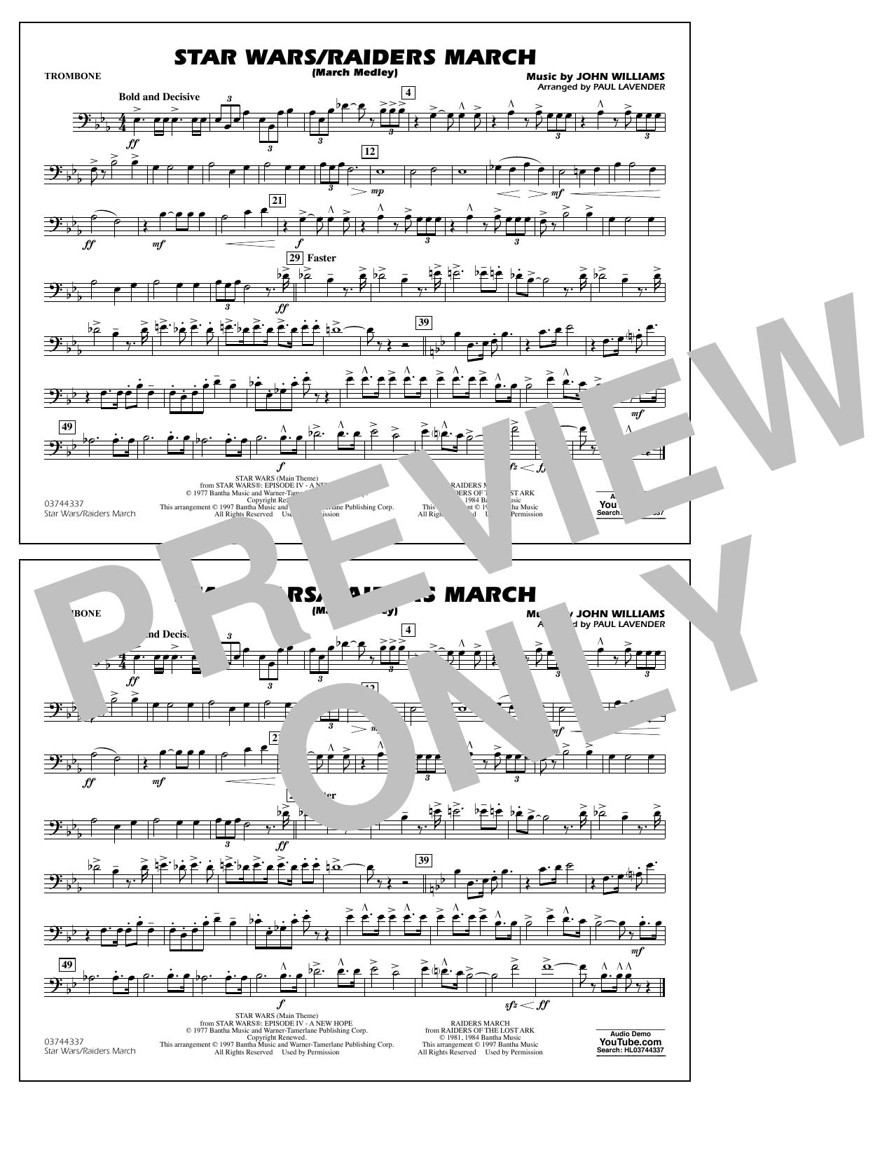 Star Wars/Raiders March - Trombone Sheet Music