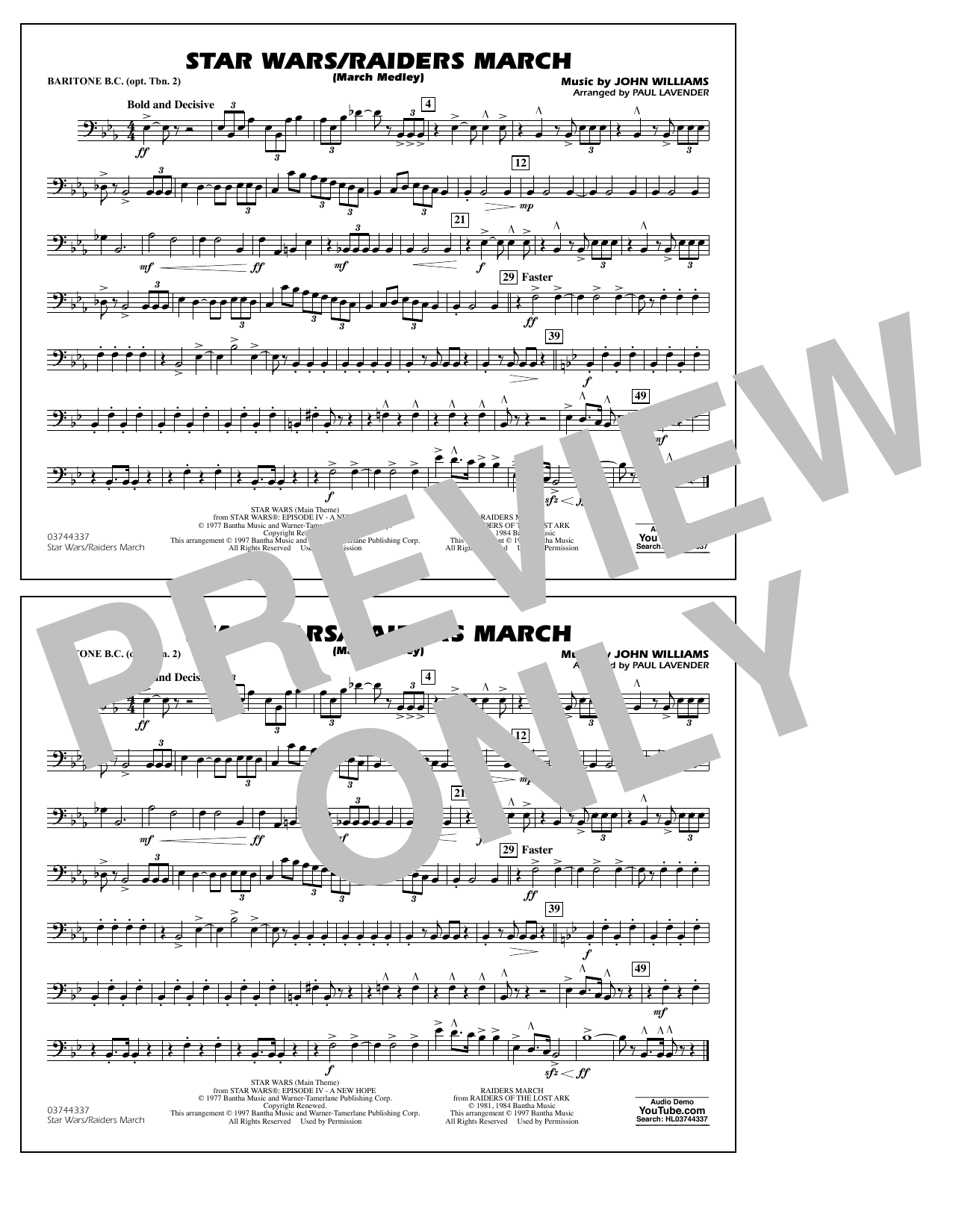 Star Wars/Raiders March - Baritone B.C. (Opt. Tbn. 2) Sheet Music