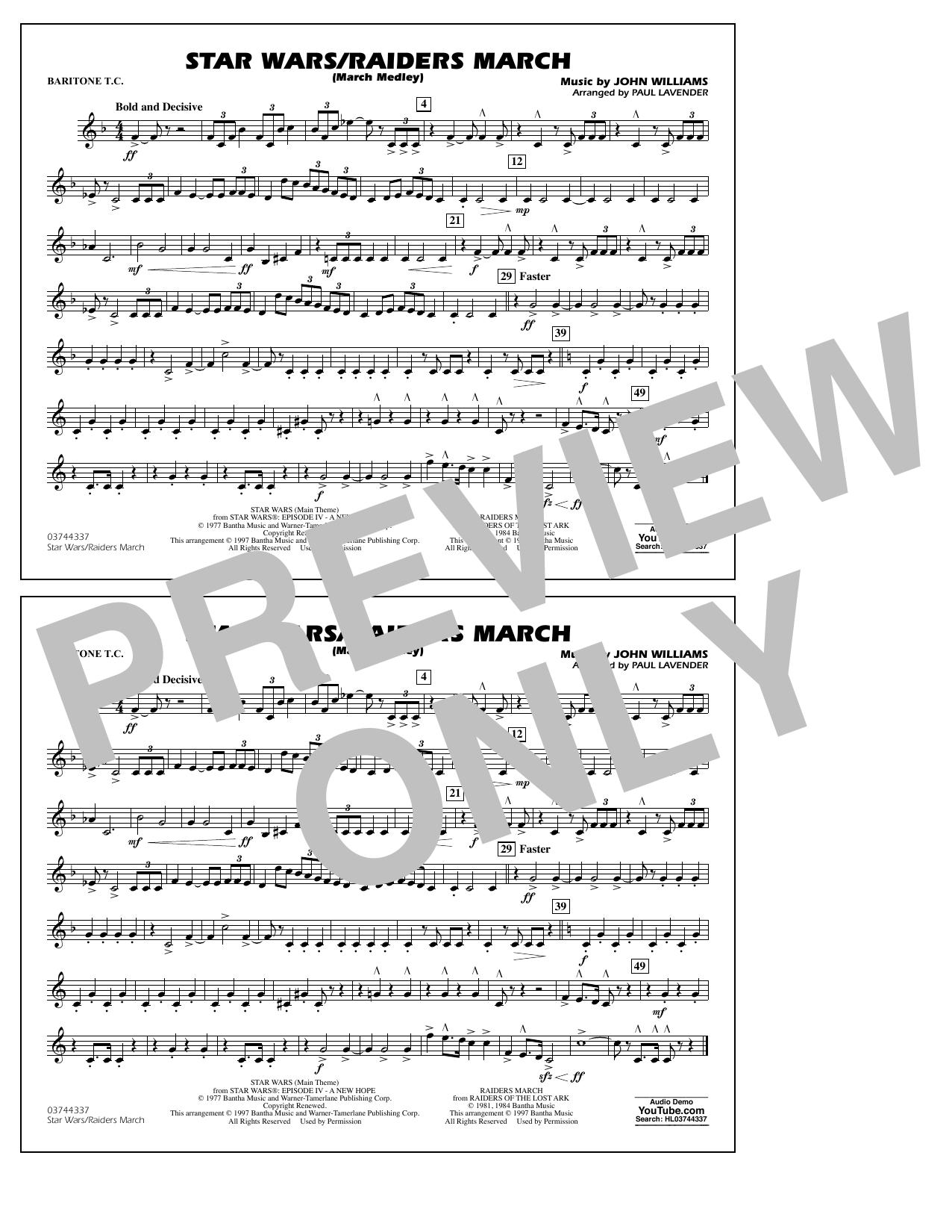 Star Wars/Raiders March - Baritone T.C. Sheet Music