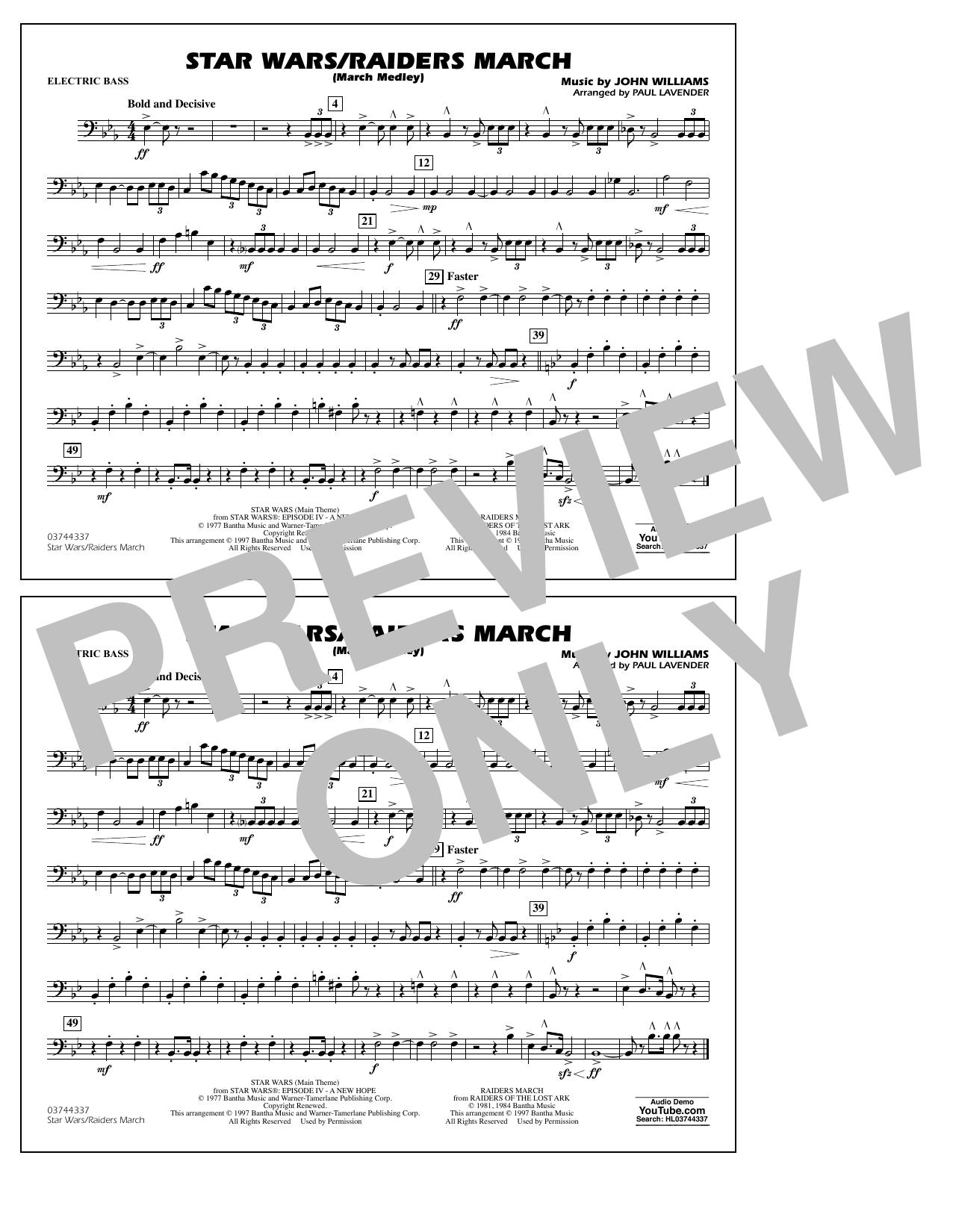 Star Wars/Raiders March - Electric Bass Sheet Music
