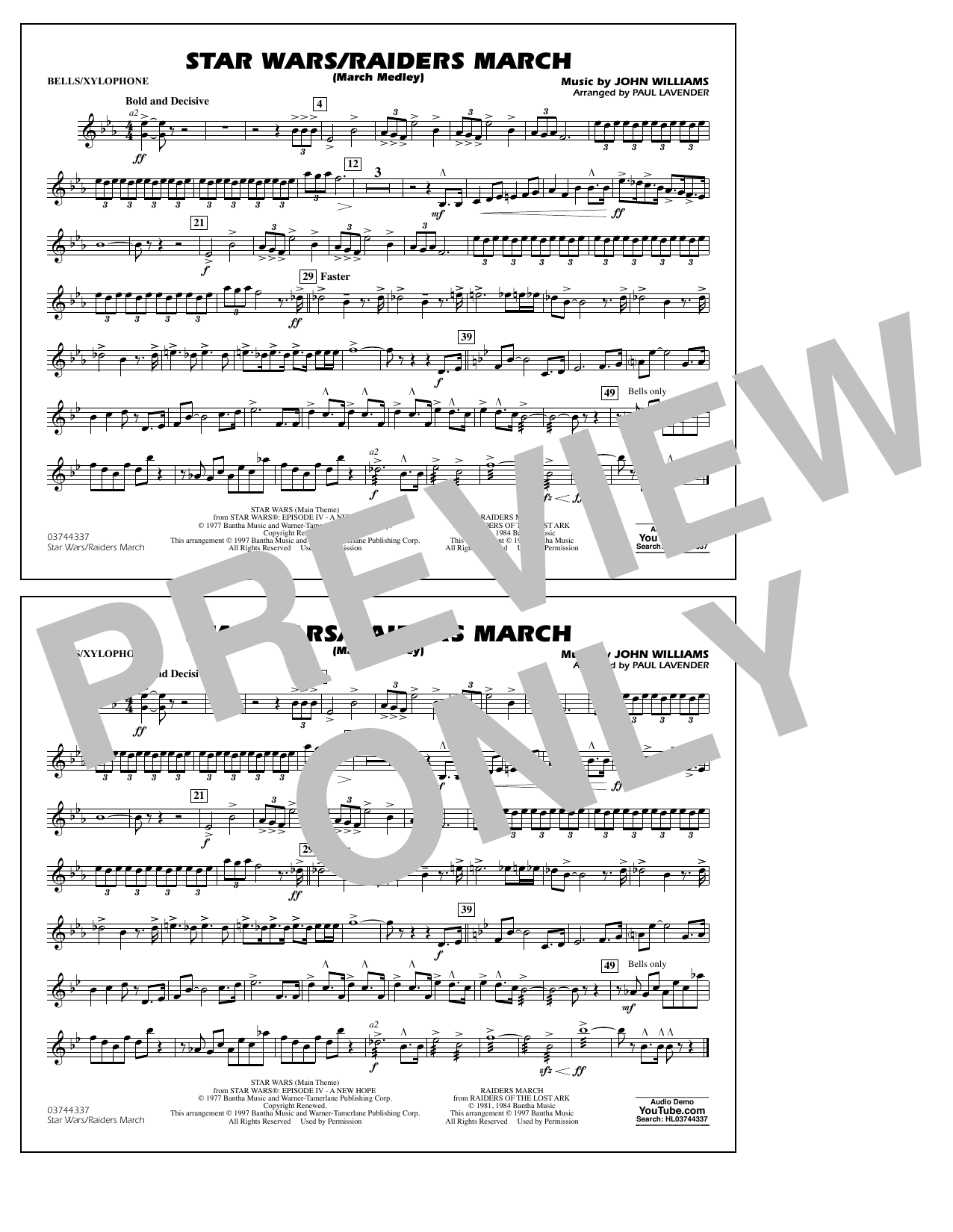 Star Wars/Raiders March - Bells/Xylophone Sheet Music