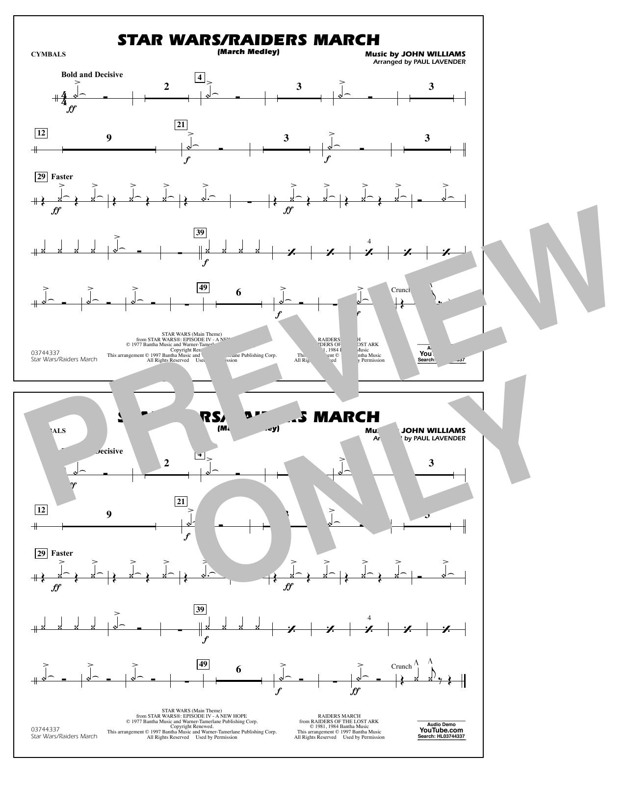 Star Wars/Raiders March - Cymbals Sheet Music