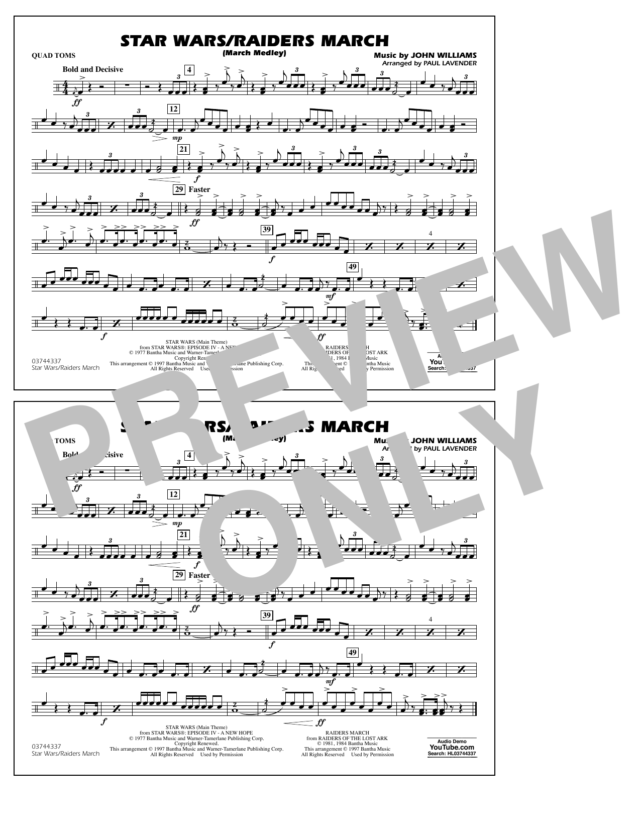 Star Wars/Raiders March - Quad Toms Sheet Music